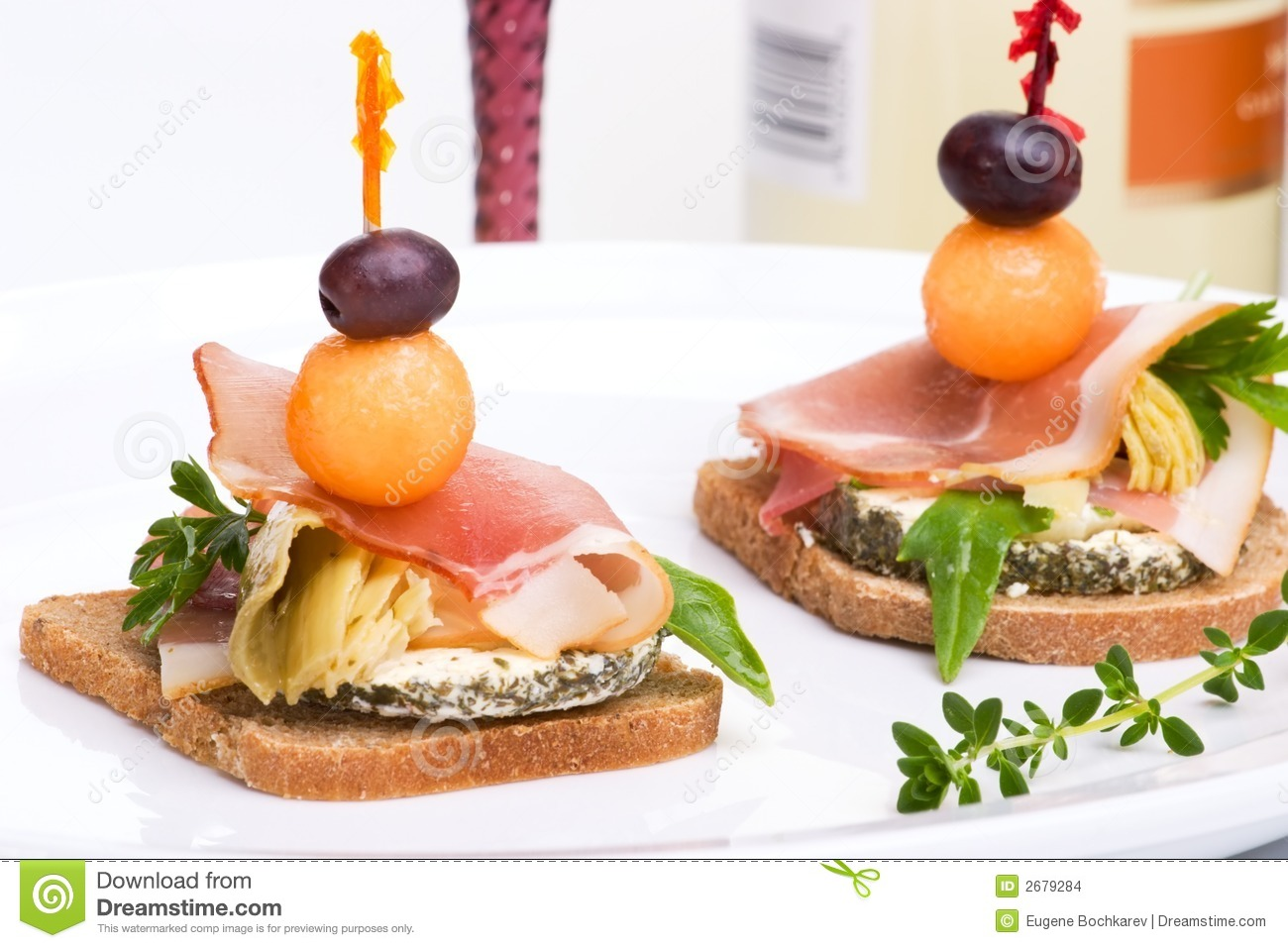 Prosciutto canapes stock images image 2679284 for Prosciutto and melon canape