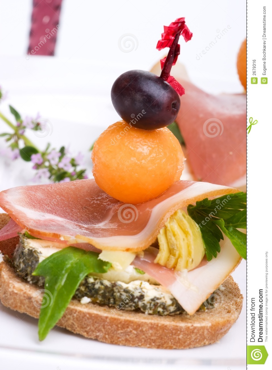 Prosciutto canapes royalty free stock image image 2679316 for Prosciutto and melon canape