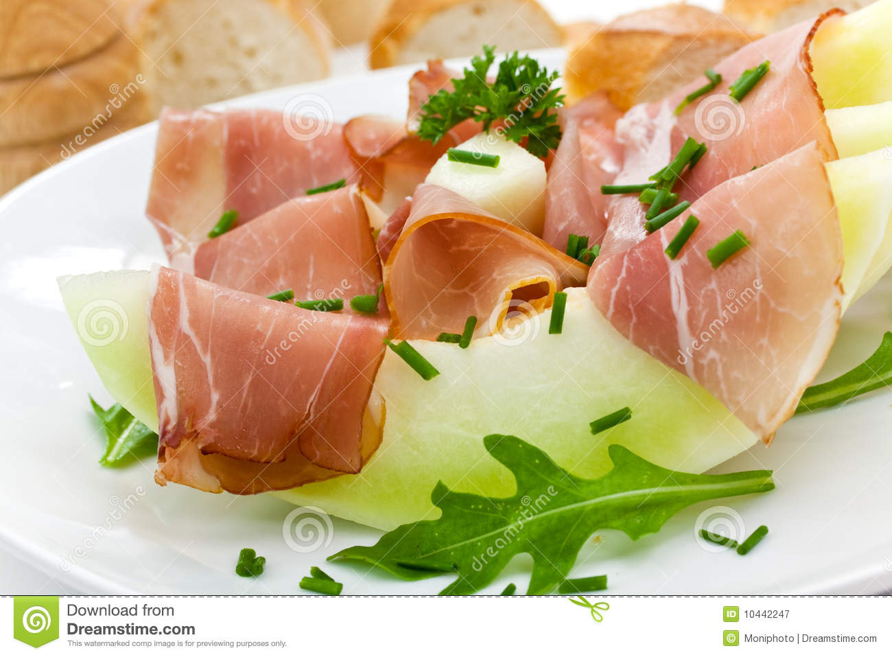 Prosciutto Di Parma Ham And Three Slice Of Melon Royalty Free Stock ...