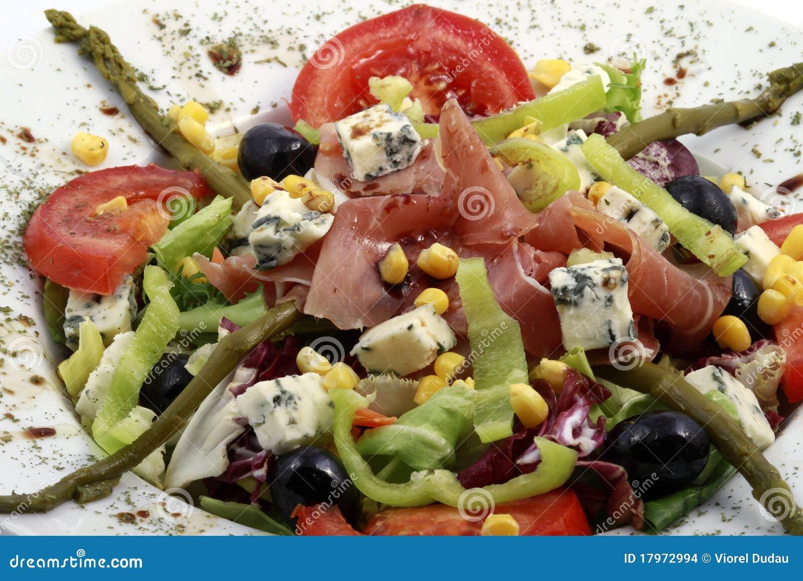 Prosciutto et salade frais de gorgonzola images stock for Vers des salades