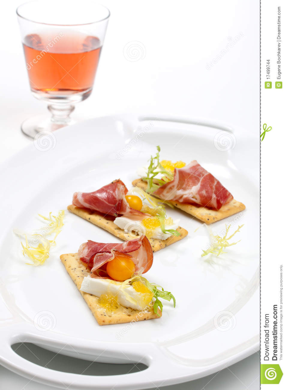 Prosciutto goat cheese canapes stock images image 17499744 for Prosciutto canape
