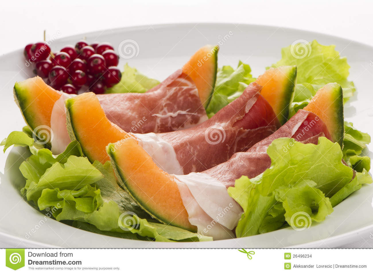 Prosciutto, Melon, Salad Leaf And Currants Stock Images - Image ...