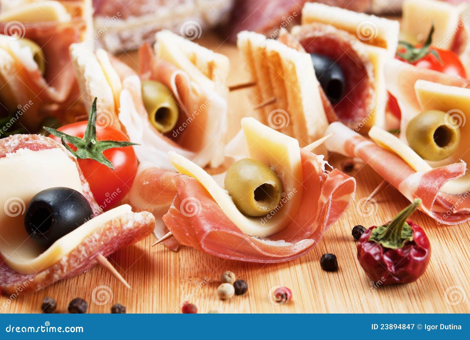 Prosciutto and salami canape royalty free stock for Prosciutto canape