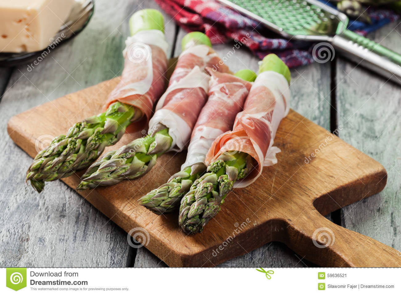 Prosciutto Wrapped Green Asparagus Stock Photo - Image: 59636521