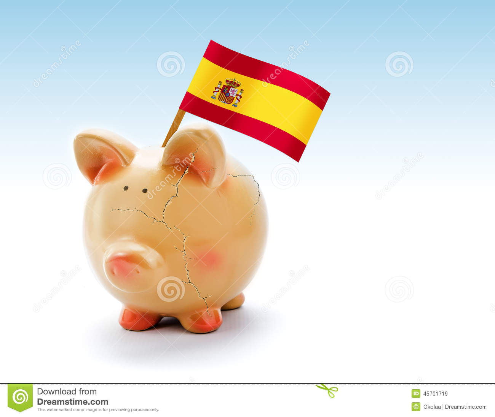 Prosiątko bank z pęknięciami i flaga państowowa Hiszpania