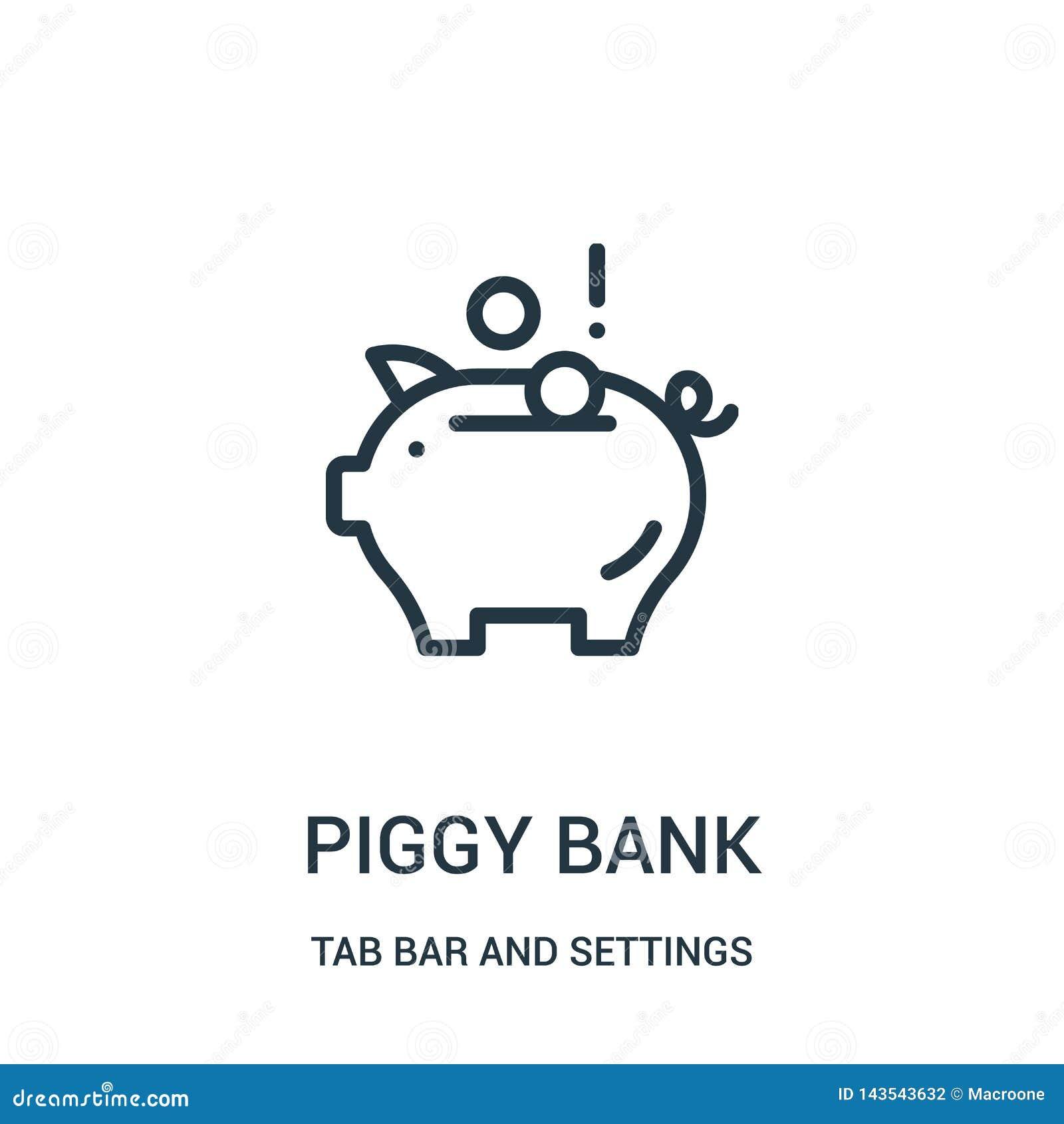 Prosiątko banka ikony wektor od zakładka baru i położenia inkasowi Cienka kreskowa prosi?tko banka konturu ikony wektoru ilustrac