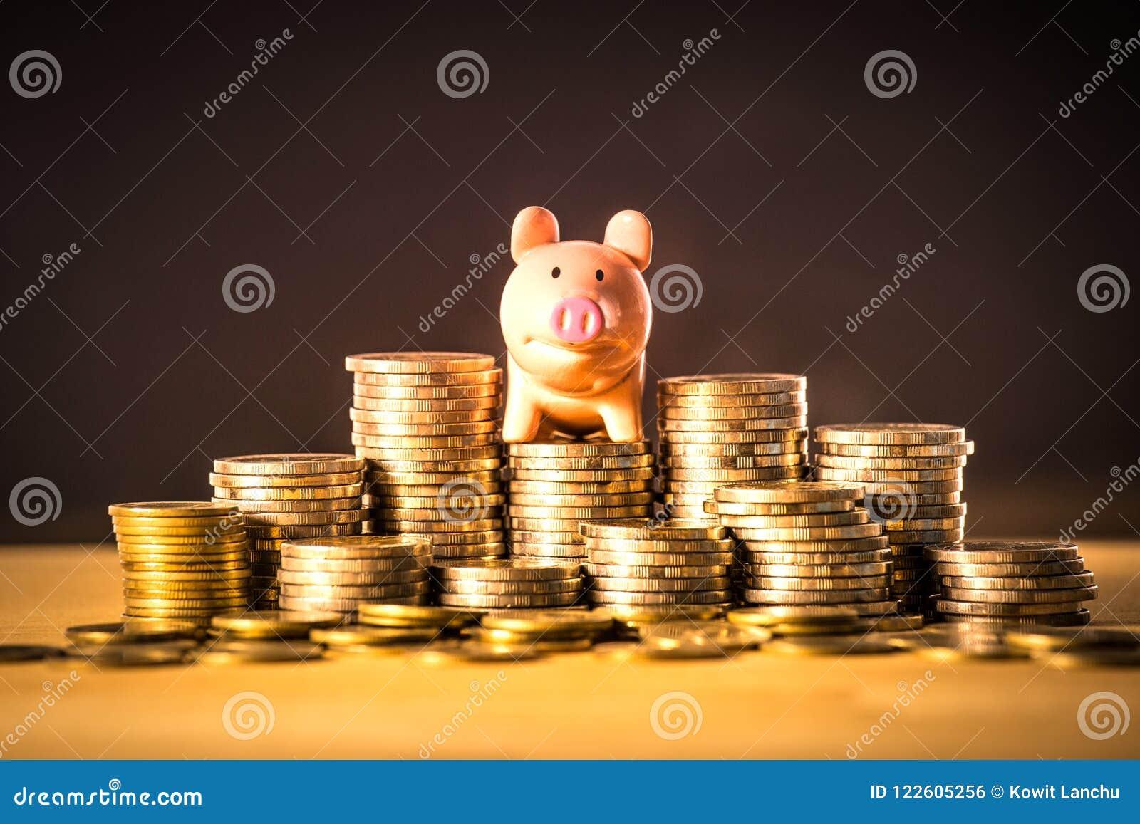 Prosiątko bankowość na pieniądze stercie dla ratować pieniądze pojęcie, przestrzeń biznesowego planowania pomysły, asekuracyjny ż
