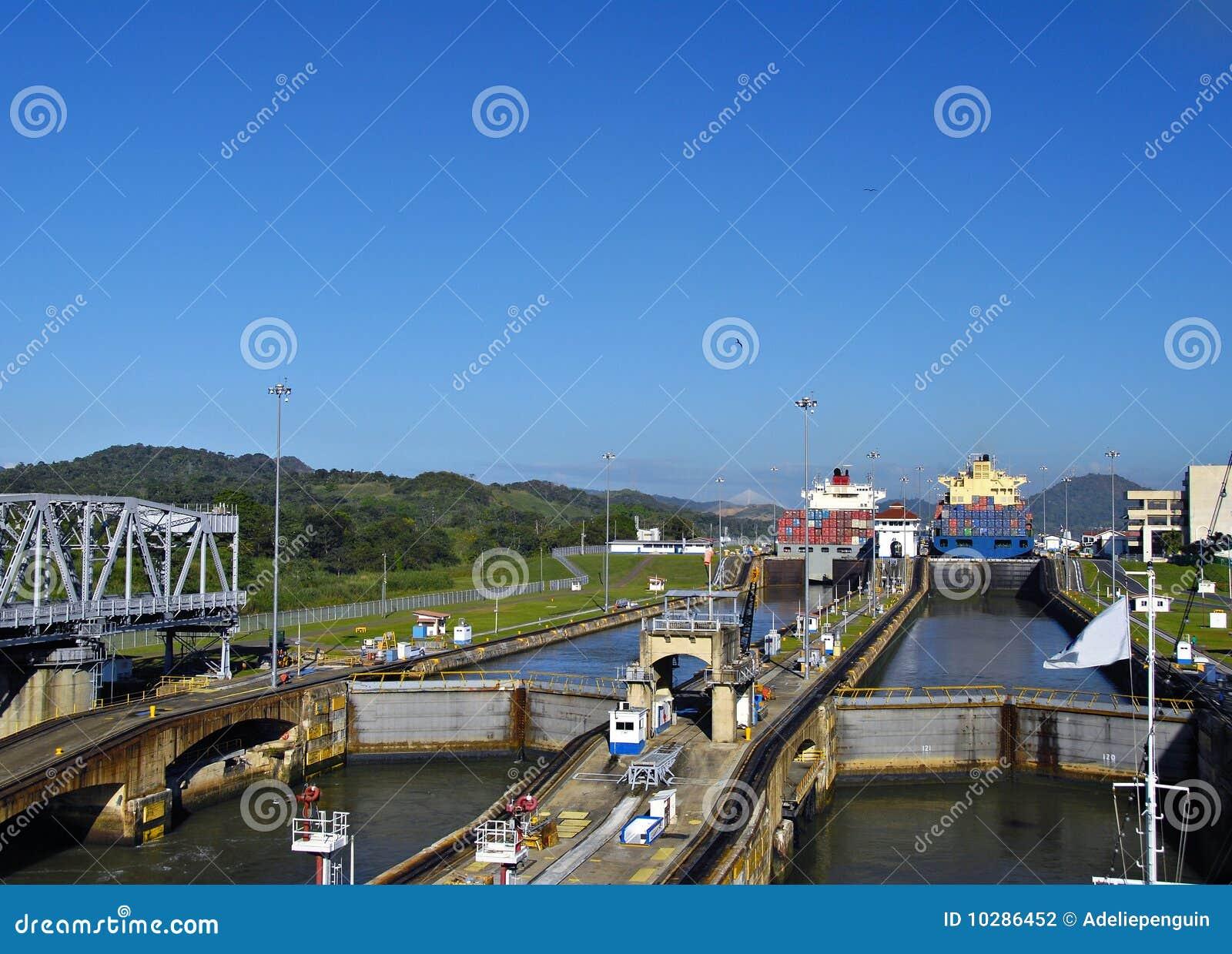 Prosiguendo através dos fechamentos, canal de Panamá