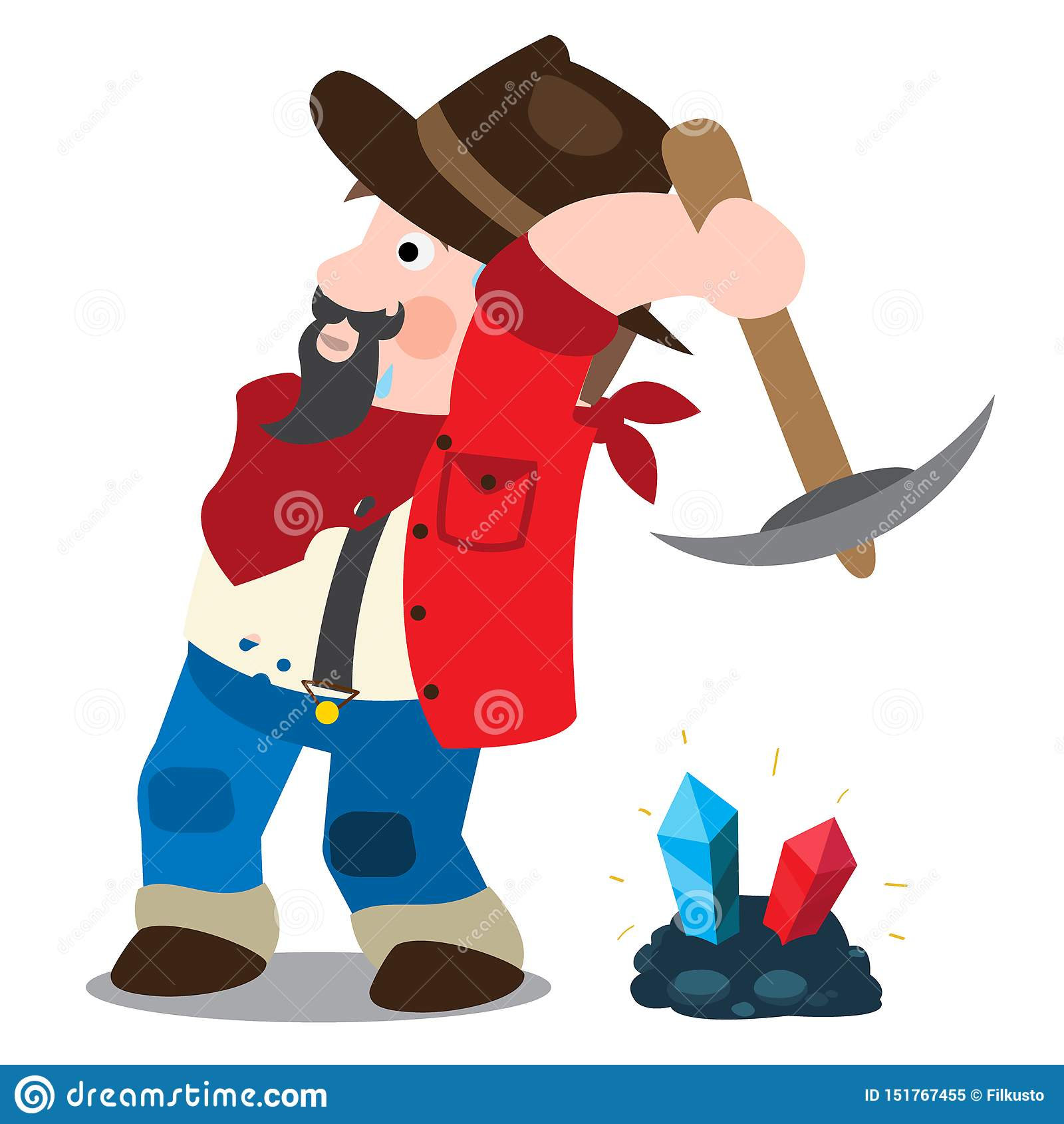 Prospector, cowboy, wild west illustration. Cartoon character of a man in a hat with a pickaxe
