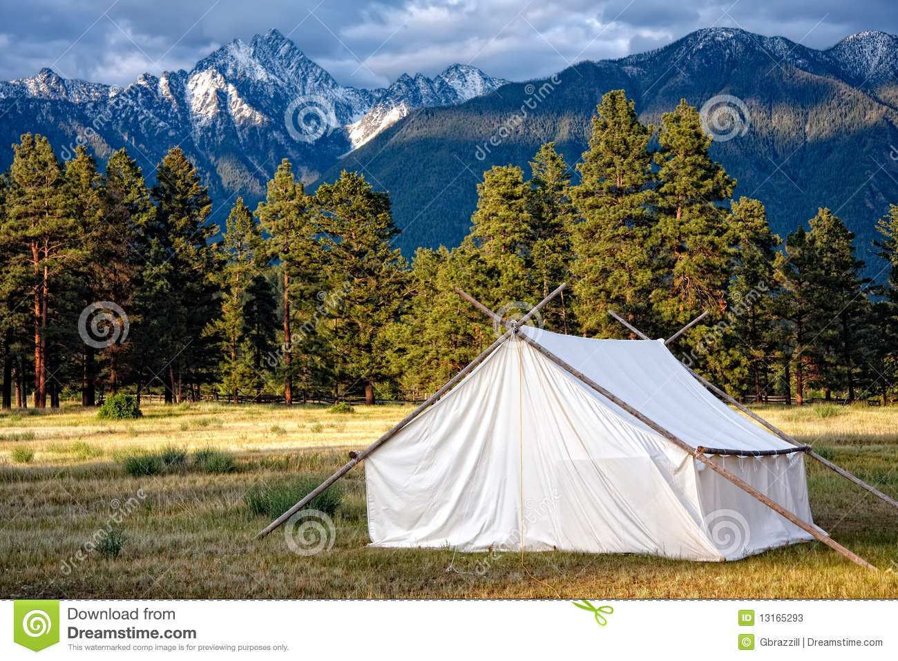 Prospectors Tent And Mountain View Stock Image - Image of