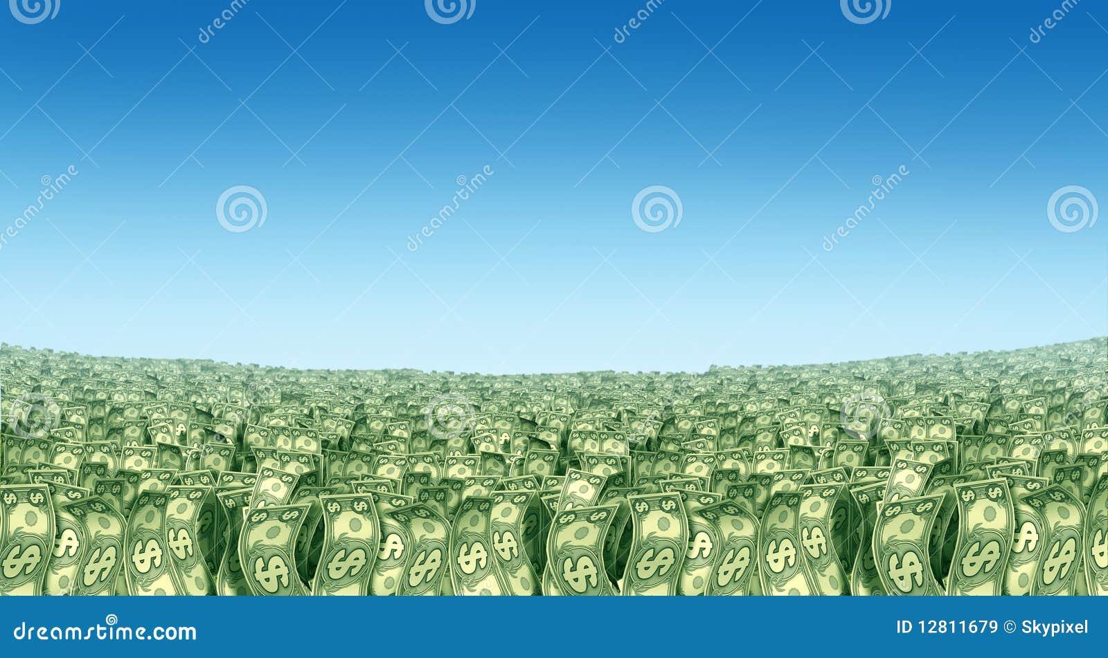 Prosperidade da paisagem do dinheiro no horizonte