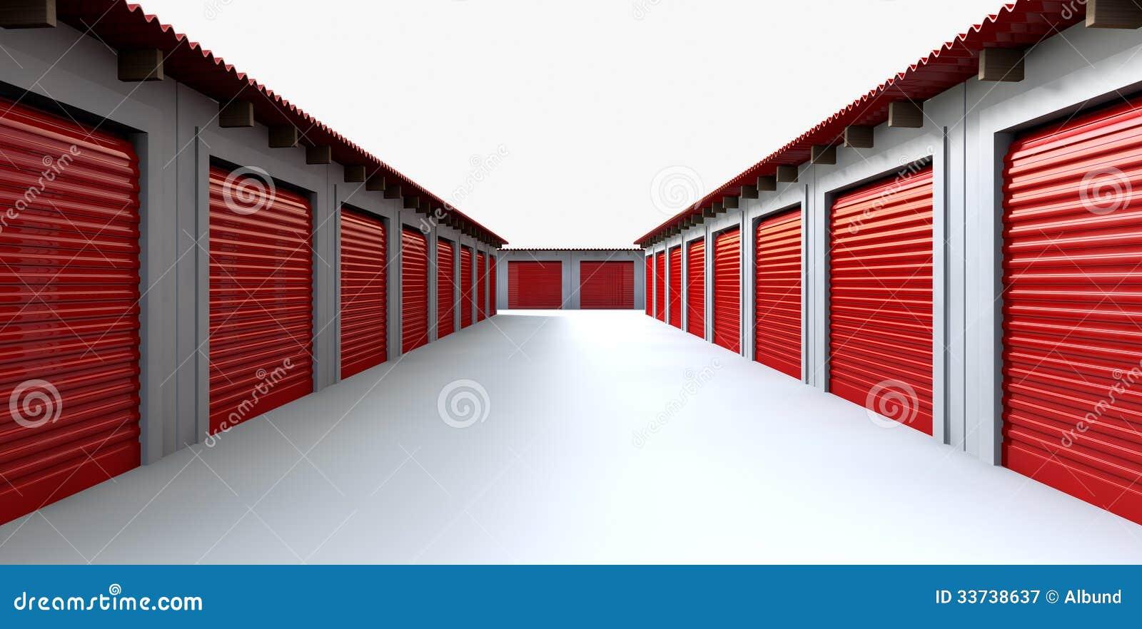 Prospettiva degli armadi di stoccaggio illustrazione di stock