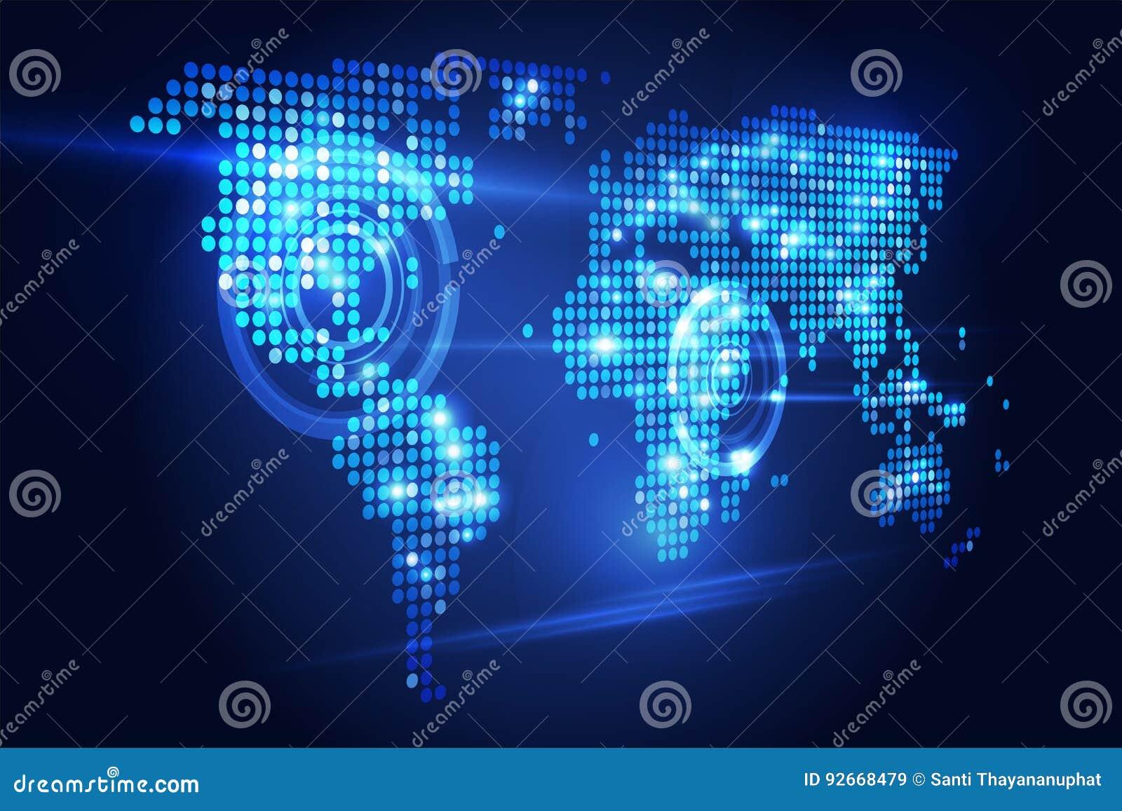 Prospettiva di tecnologia della mappa di mondo