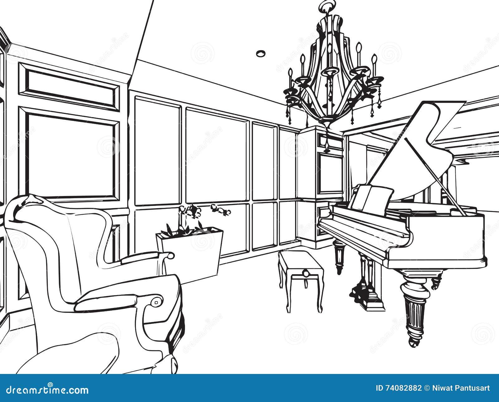 Prospettiva interna del disegno di schizzo del profilo for Disegno della casa di architettura