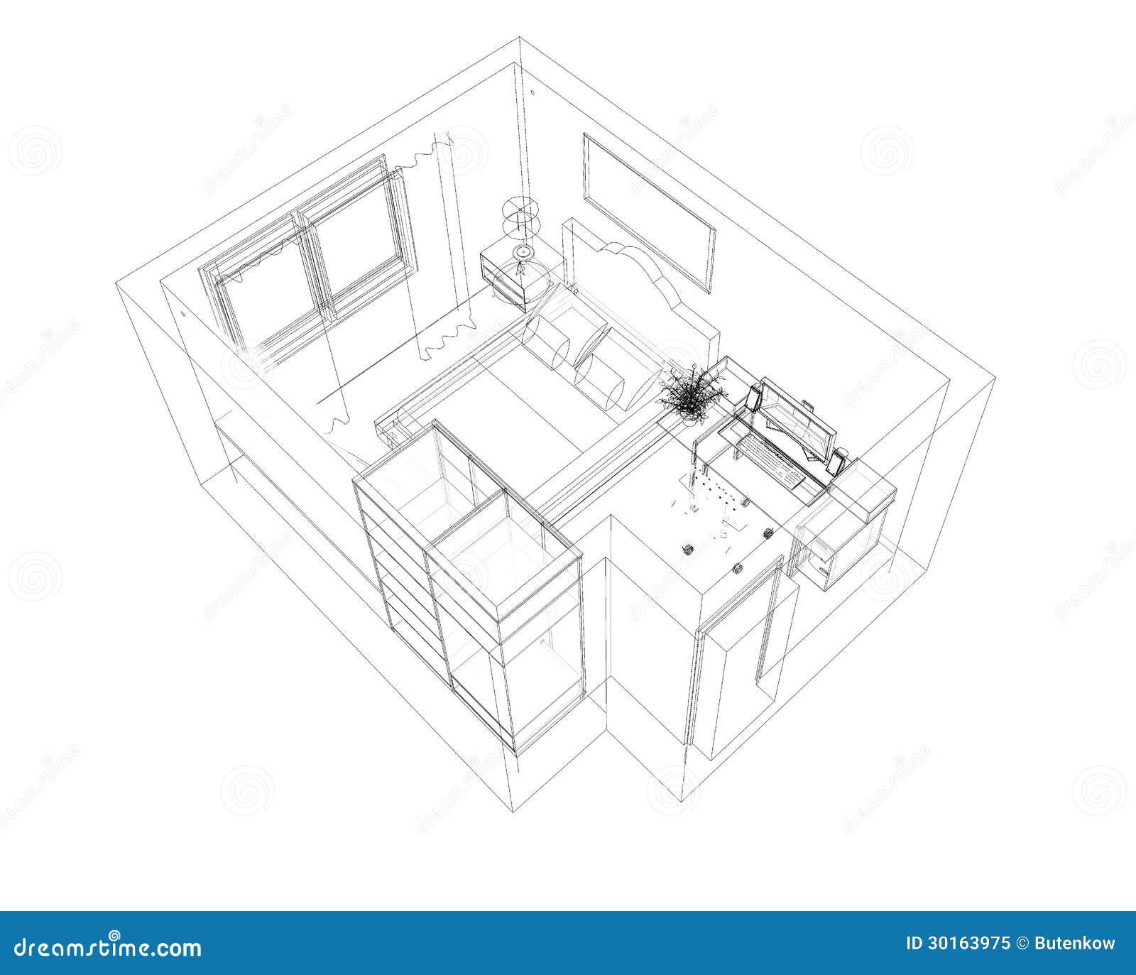 Schizzo della matita dei locali illustrazione di stock for Programma di disegno della casa libera