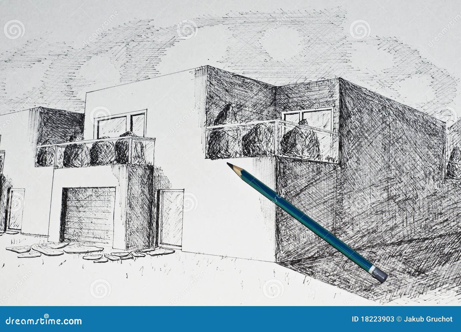 Prospettiva moderna della casa di architettura e una - Architettura casa moderna ...