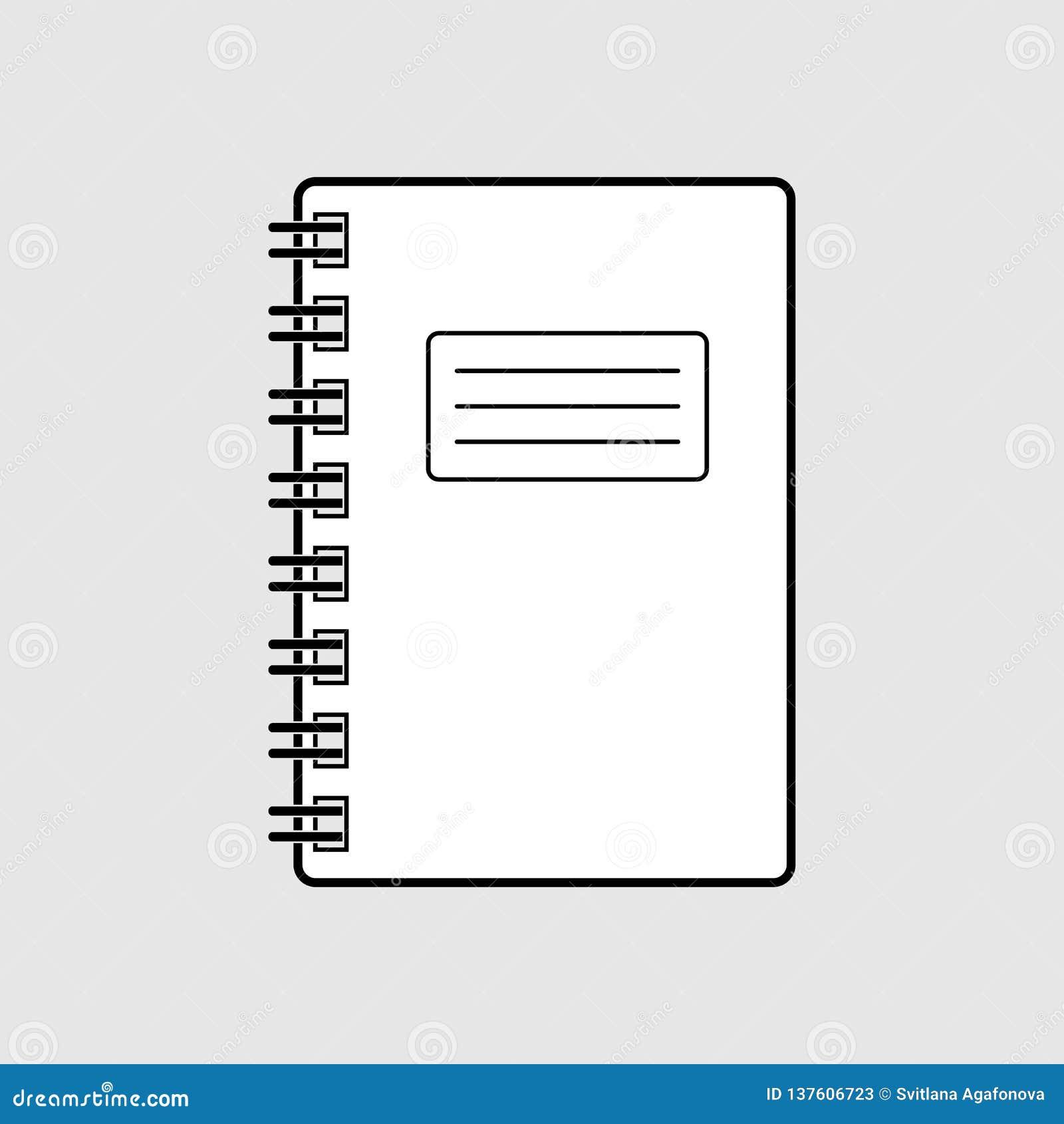 Prosta graficzna czarny i biały płaska wektorowa notatnik ikona odizolowywająca Wiosny notepad znak na popielatym tle