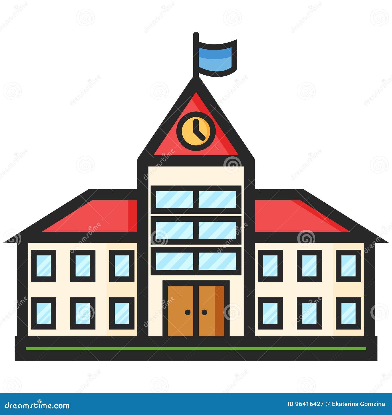 Prosta Wektorowa ikona budynek szkoły w mieszkanie stylu Piksel Perfect Podstawowe wykształcenie element