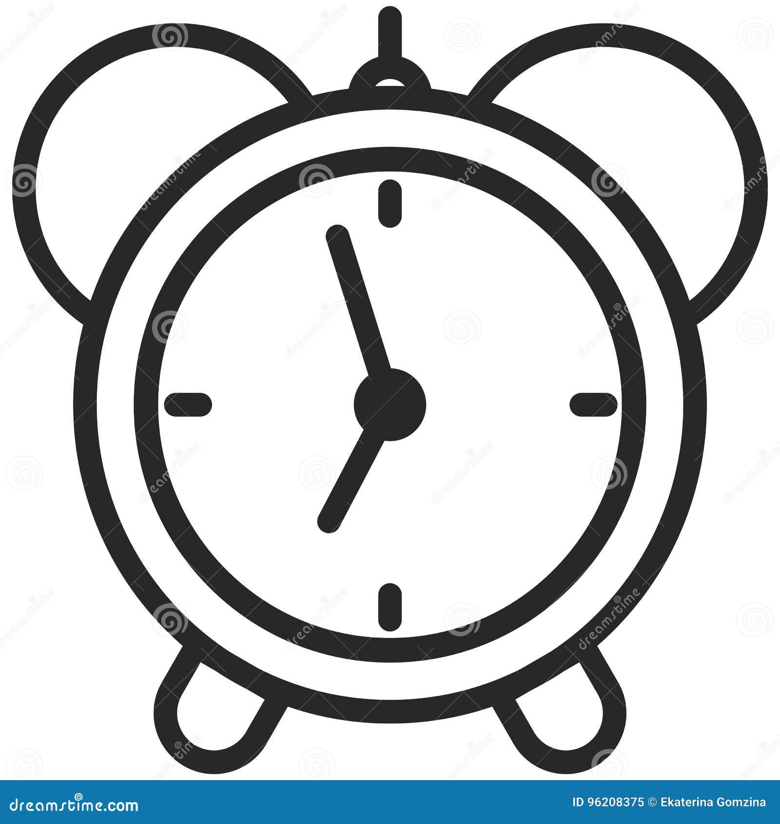 Prosta Wektorowa ikona klasyczny budzik w kreskowej sztuki stylu Piksel Perfect Podstawowe wykształcenie element
