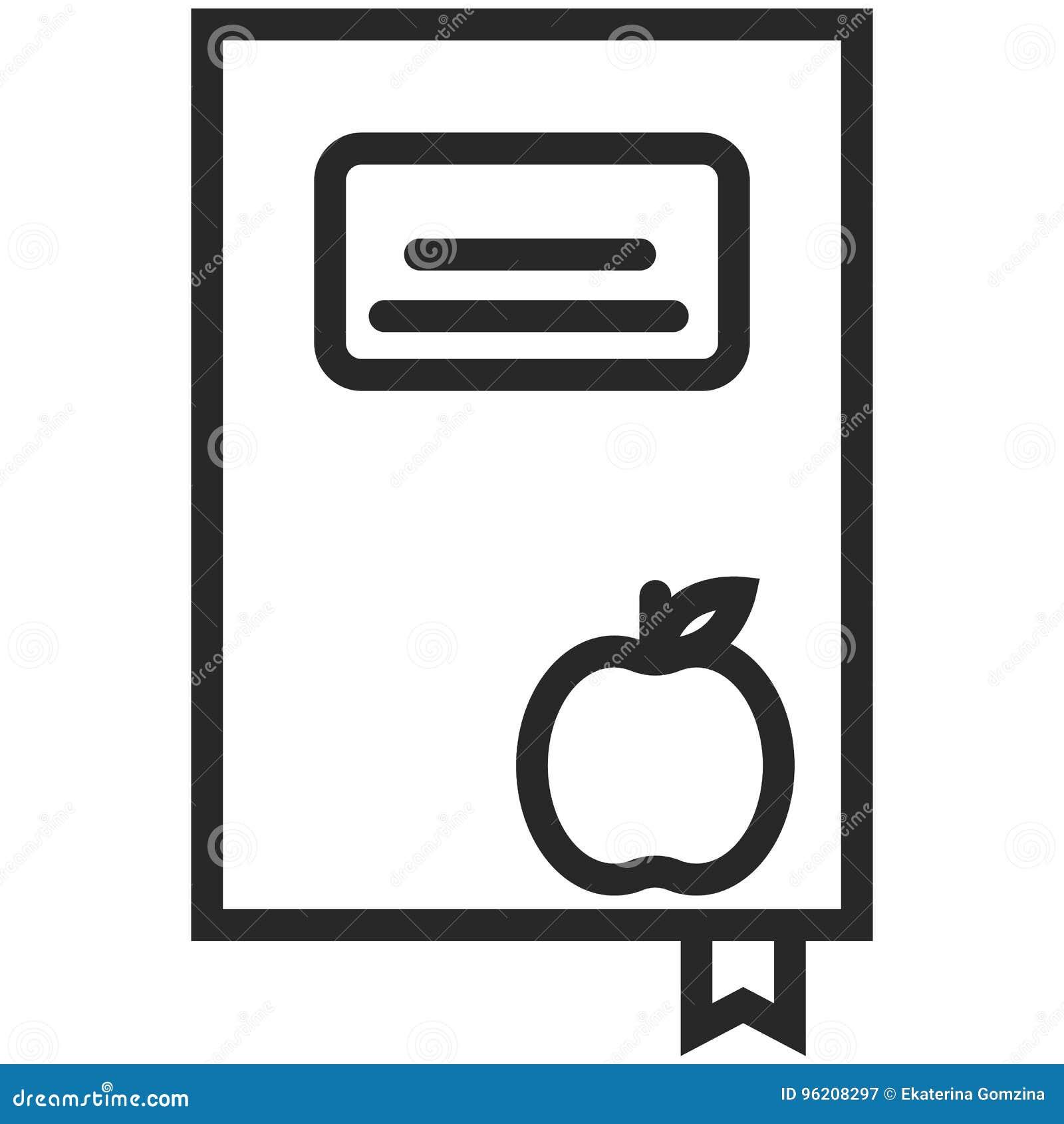Prosta Wektorowa ikona książka z jabłkiem w kreskowej sztuki stylu Piksel Perfect Podstawowe wykształcenie element