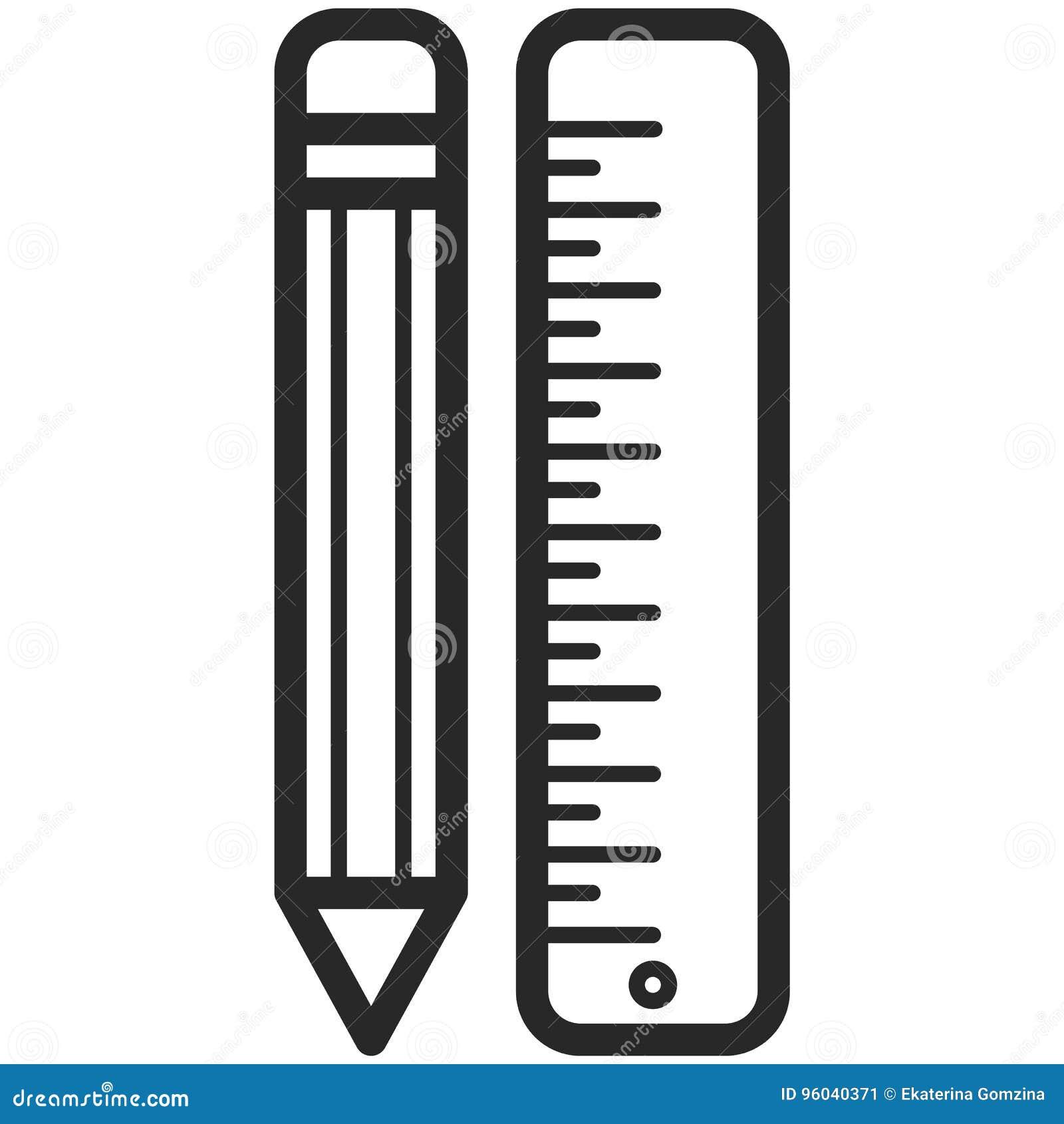 Prosta Wektorowa ikona ołówek i władca w kreskowej sztuce projektujemy Piksel Perfect Podstawowe wykształcenie element