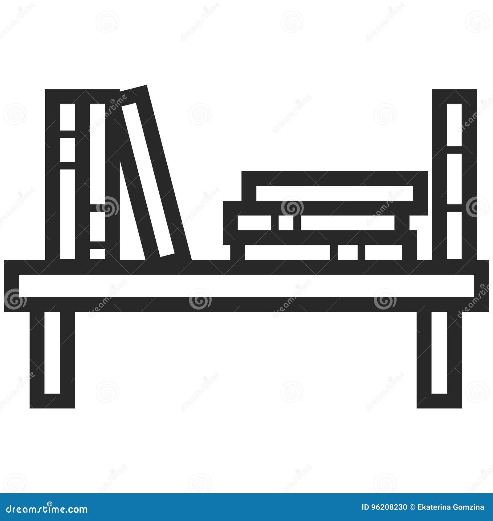 Prosta Wektorowa ikona półka na książki w kreskowej sztuki stylu Piksel Perfect Podstawowe wykształcenie element