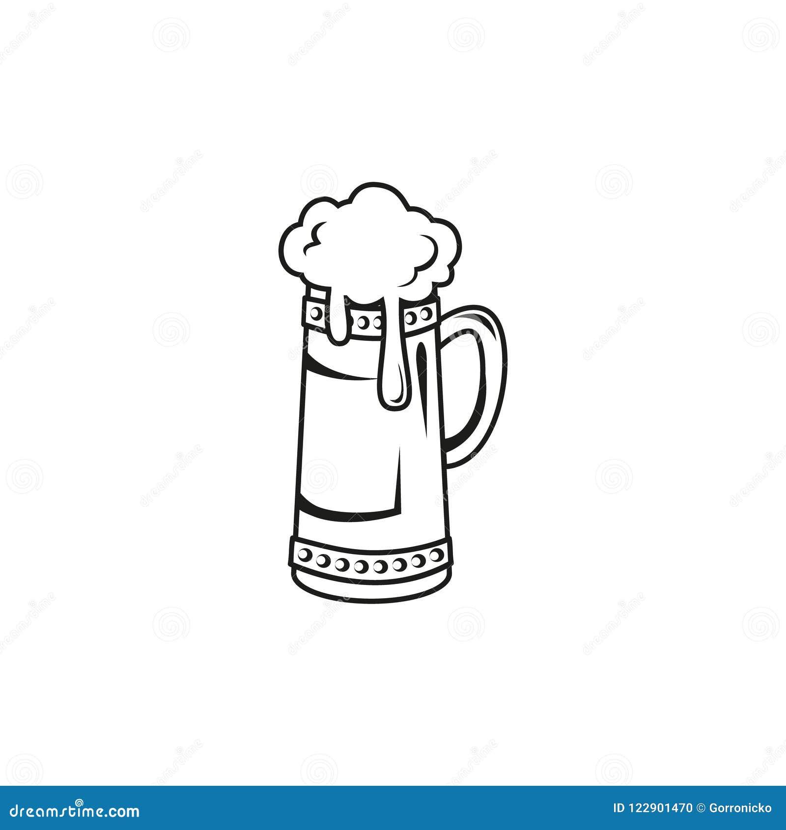 Prosta wektorowa kontur ikona z piwnego kubka uderzeniem