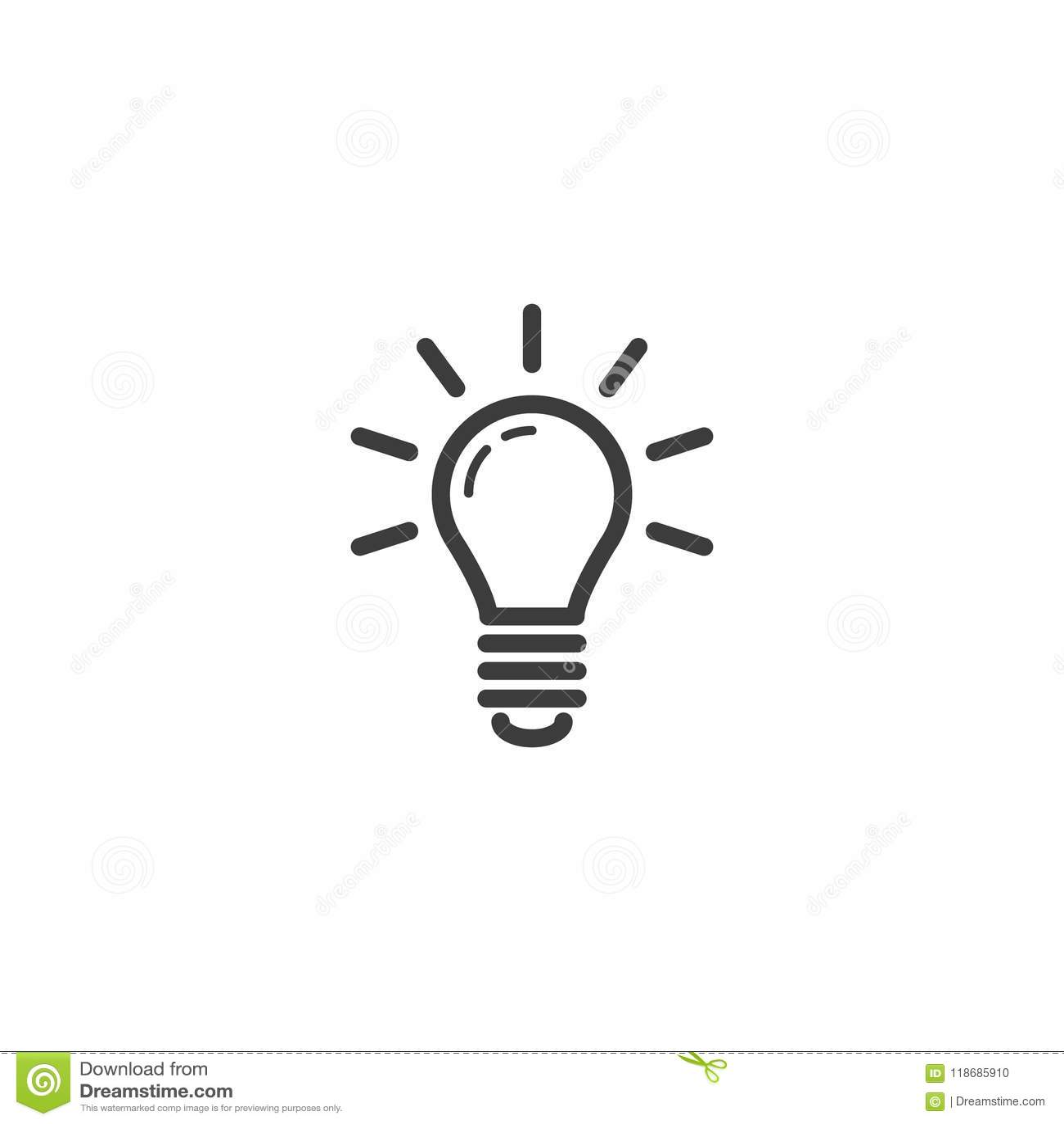 Prosta wektorowa kreskowej sztuki konturu ikona rozjarzona żarówka