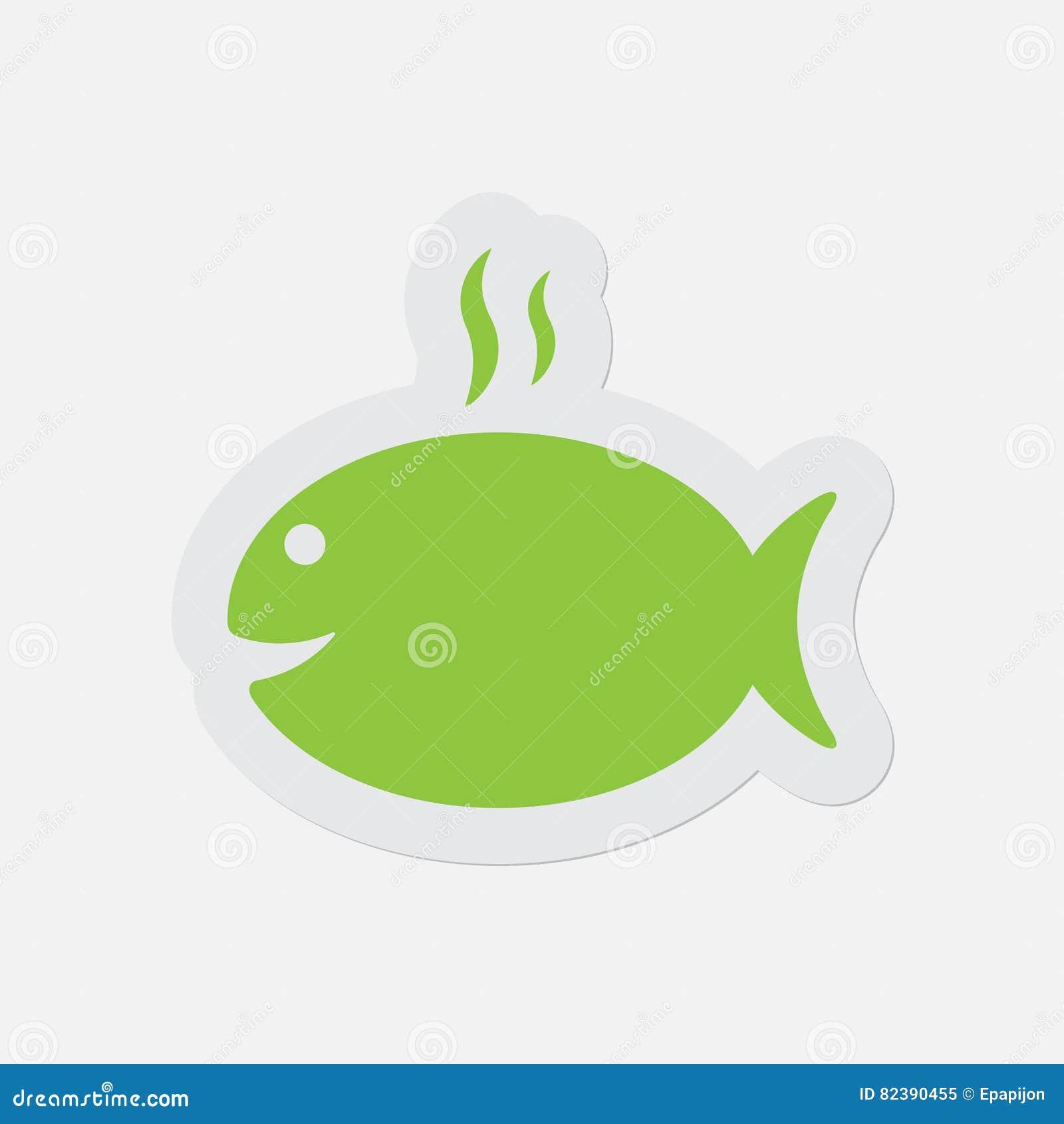 Prosta zielona ikona - opieczenie ryba z dymem