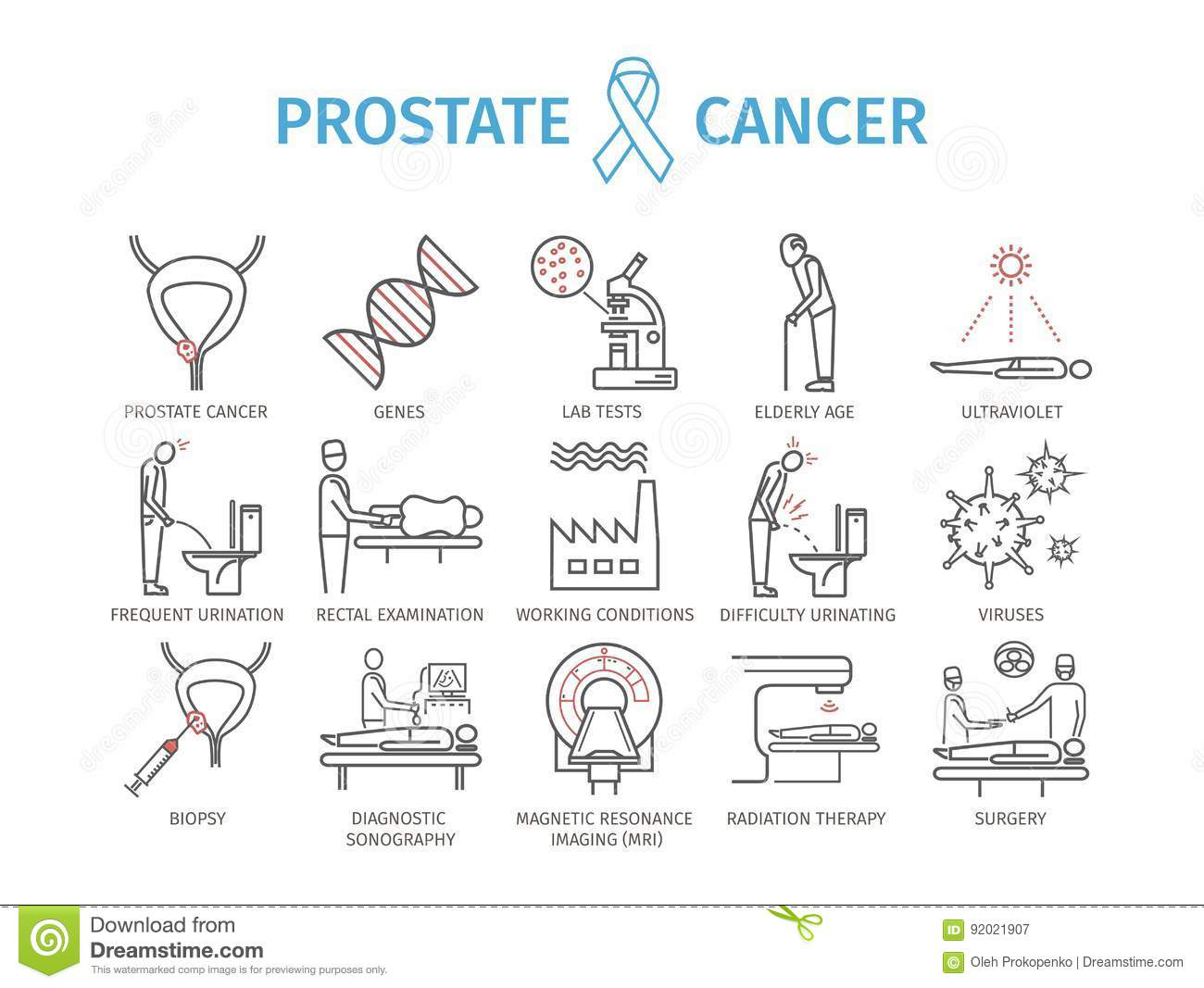prostate biopsy vector illustration