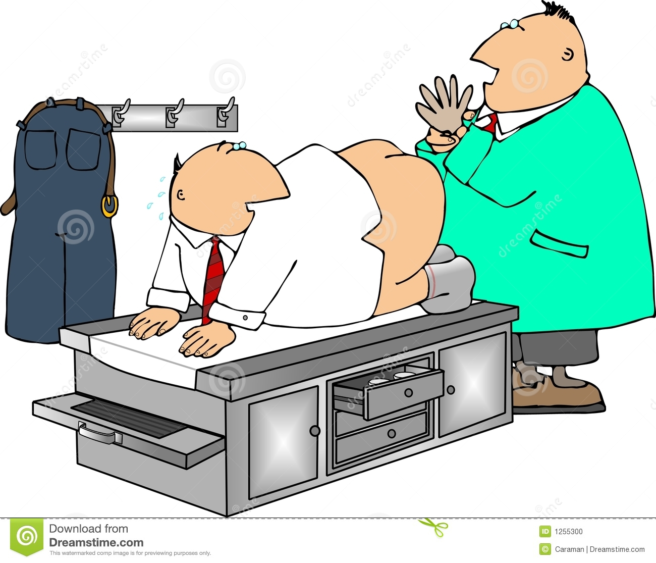 This illustration depicts a man getting a prostate exam.