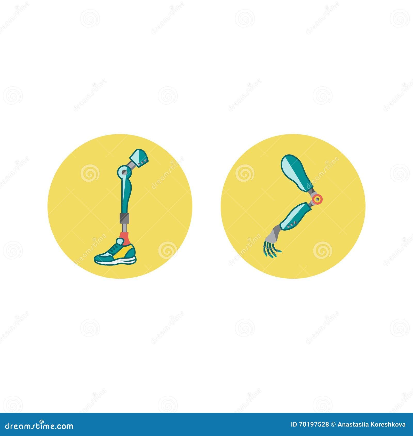 Prosthetic lemmar sänker symboler Prosthetic mekanism för modern exoskelett Cyberprotes