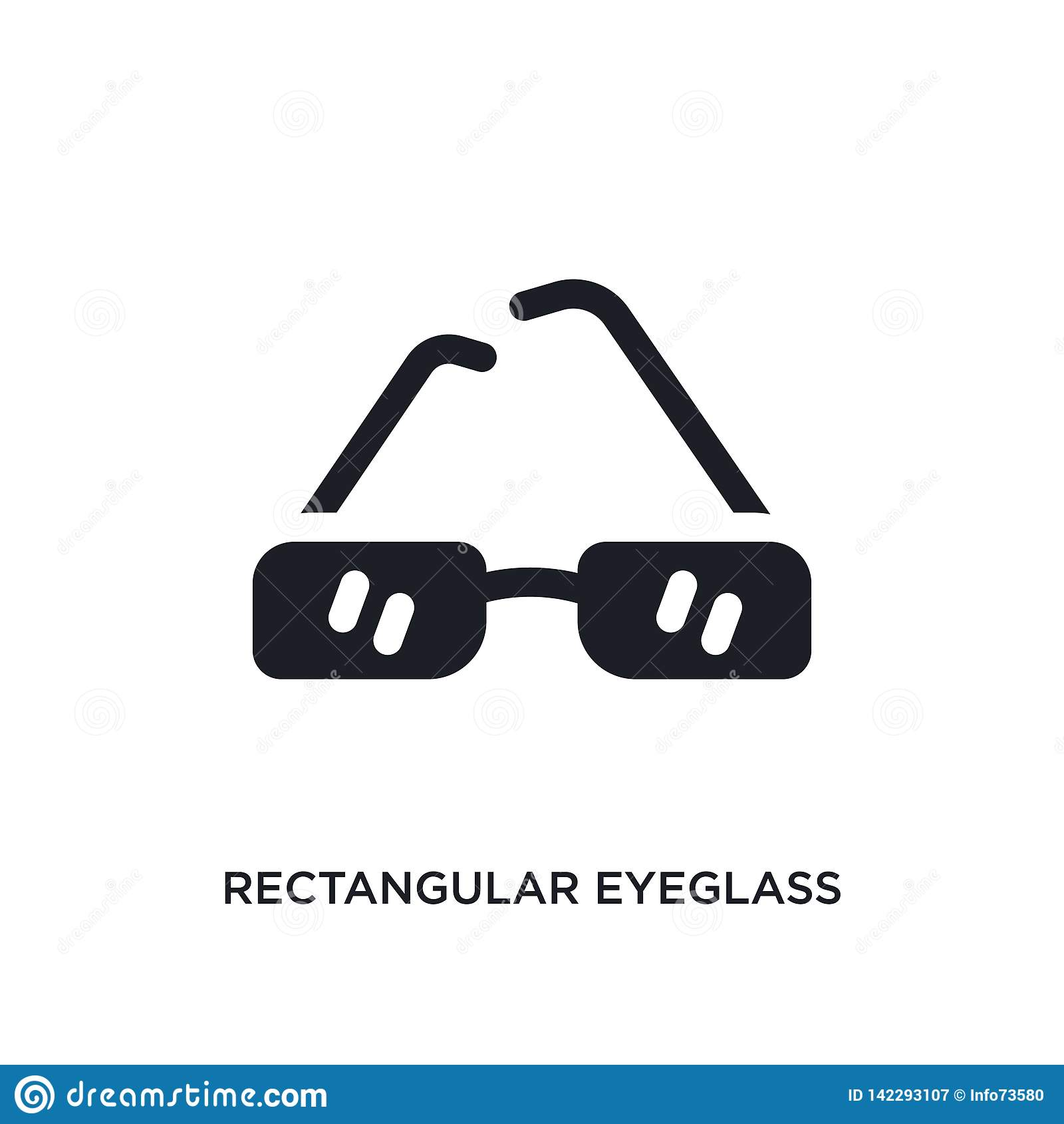 Prostokątnej eyeglass ramy odosobniona ikona prosta element ilustracja od kobiety pojęcia ubraniowych ikon prostokątny eyeglass