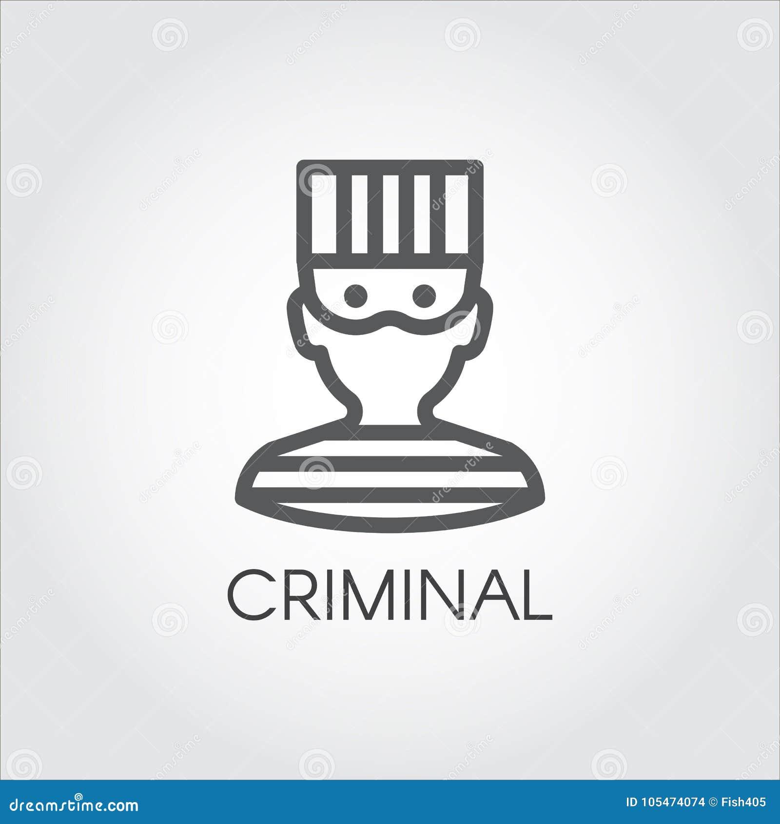 Prostota portret mężczyzna w więzieniu odziewa Loga rysunek w konturu stylu Liniowa ikona kryminalna samiec wektor