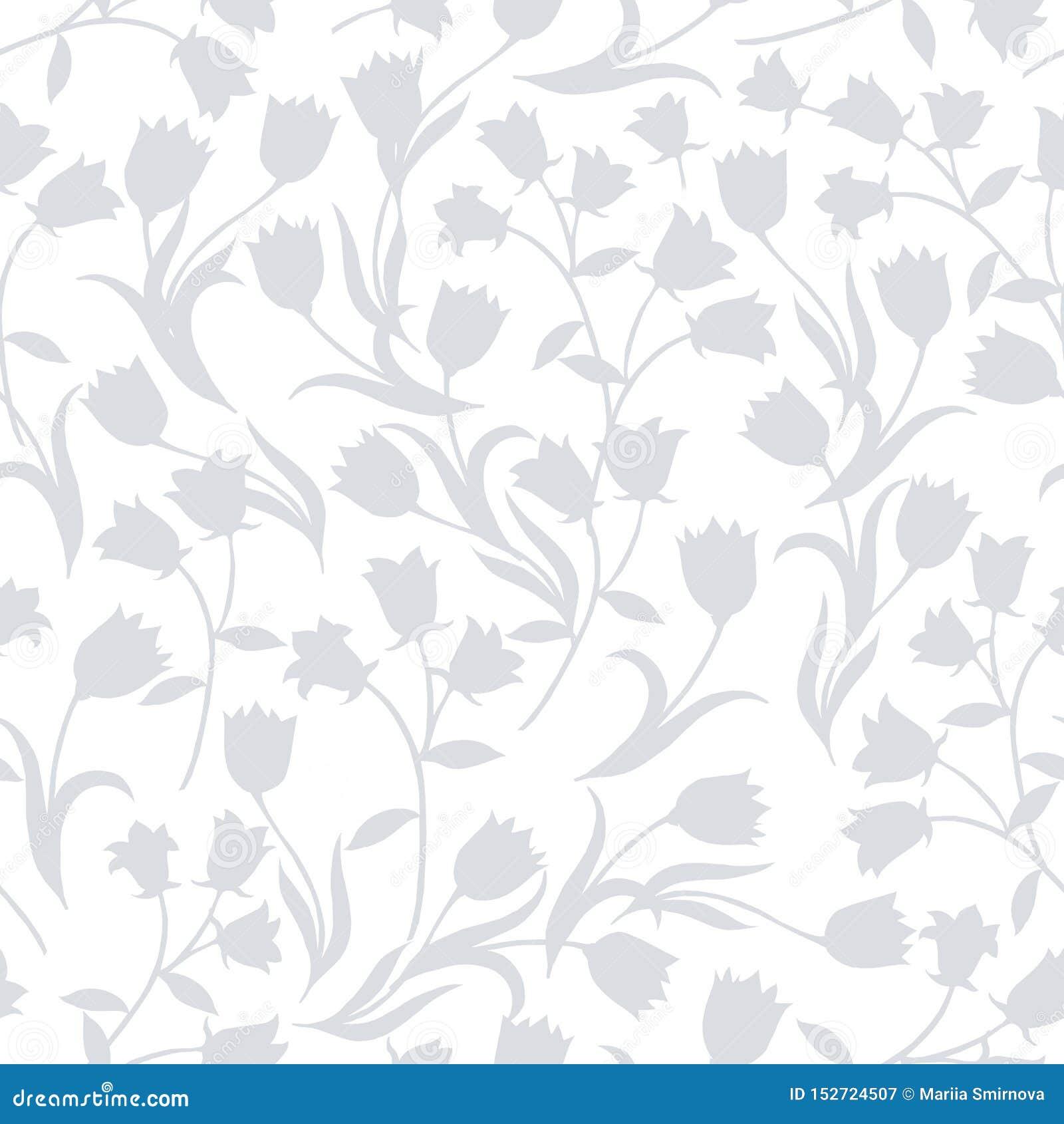 Prosty bezszwowy kwiecisty wz?r Siwieje kwiatu onament na białym tle