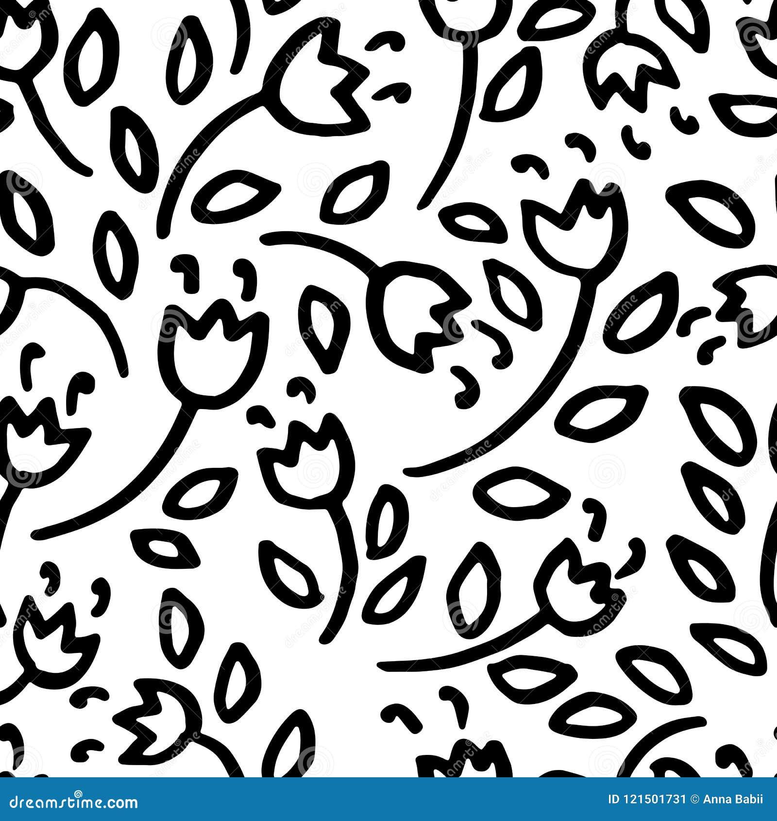 Prosty czerń kwitnie bezszwowego wzór również zwrócić corel ilustracji wektora