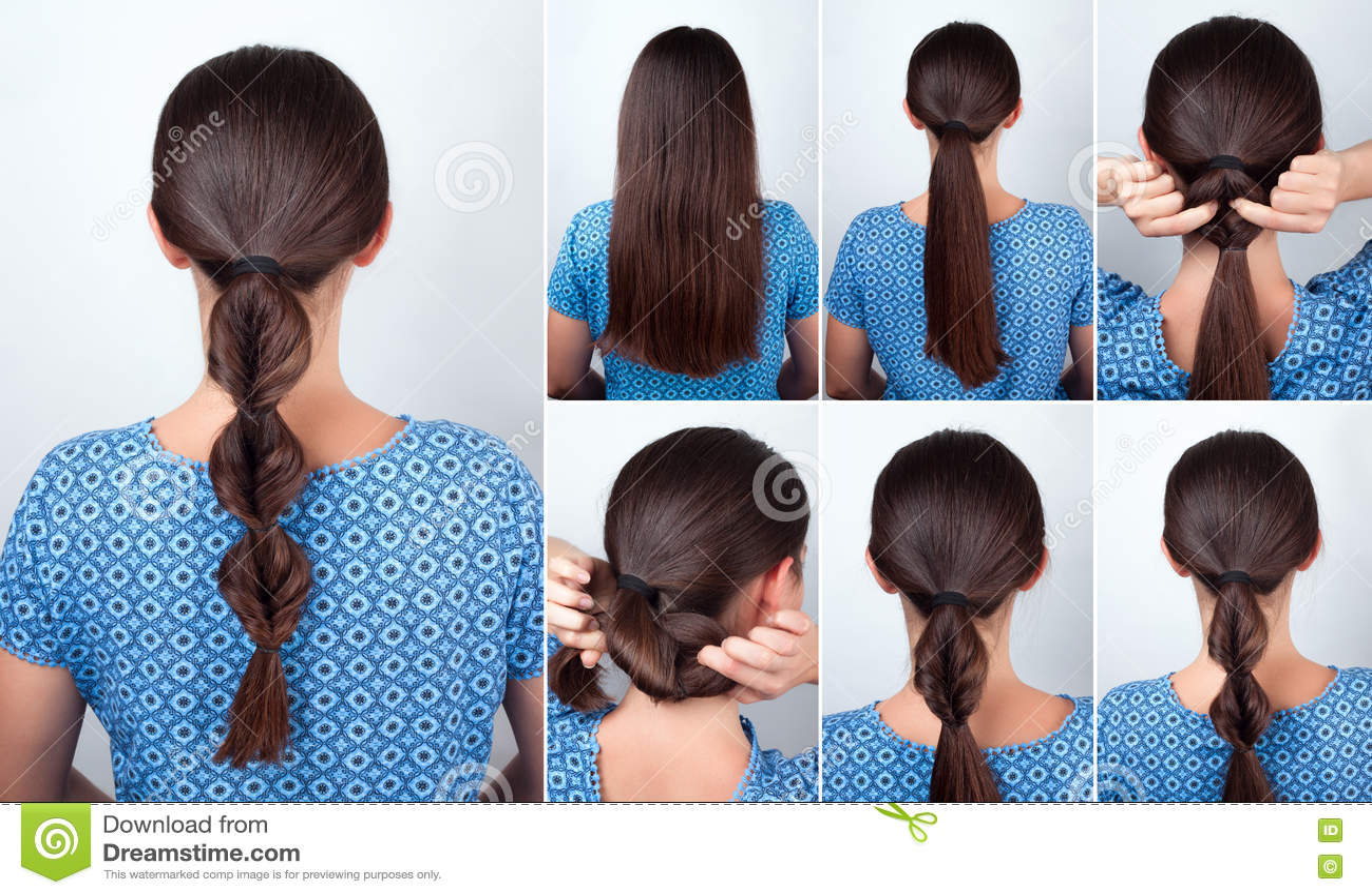 Prosty Fryzury Tutorial Dla Długie Włosy Zdjęcie Stock