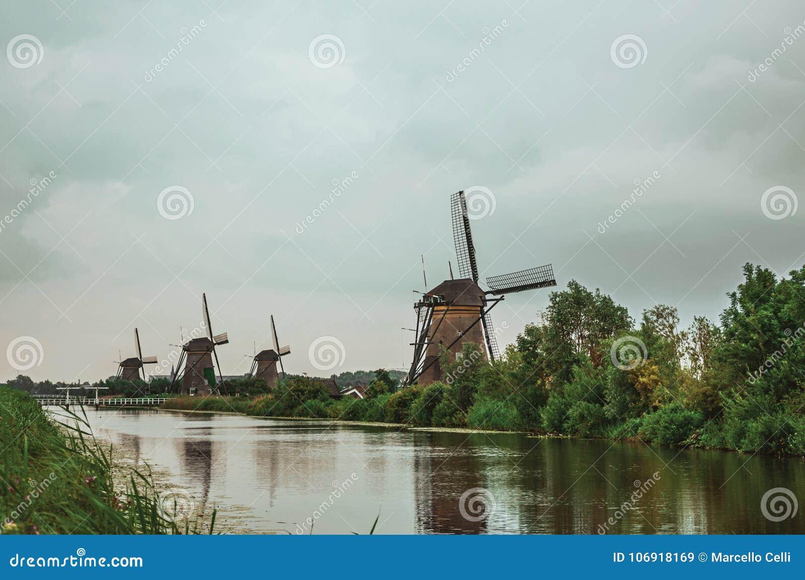 Prosty kanał z wysokimi krzakami i wiatraczkami na banku w chmurnym dniu przy Kinderdijk