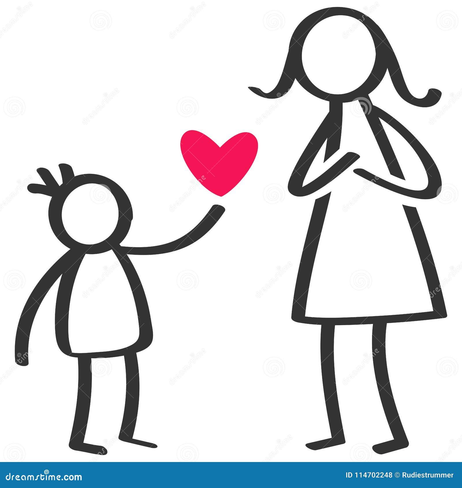 Prosty kij oblicza rodziny, chłopiec daje miłości, serce matka na Macierzystym ` s dniu, urodziny