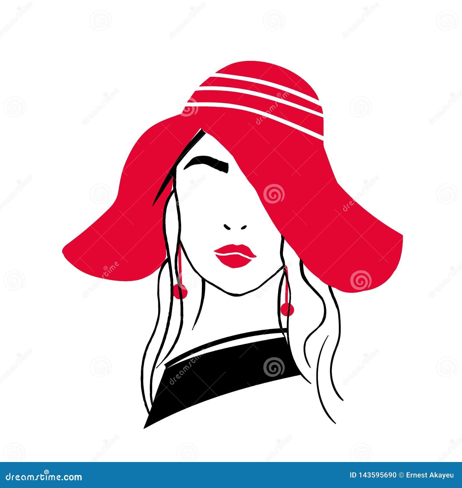 Prosty konturu portret piękna elegancka młoda dama Nakreślenie rysunek modna kobieta z czerwonymi wargami, kolczyki