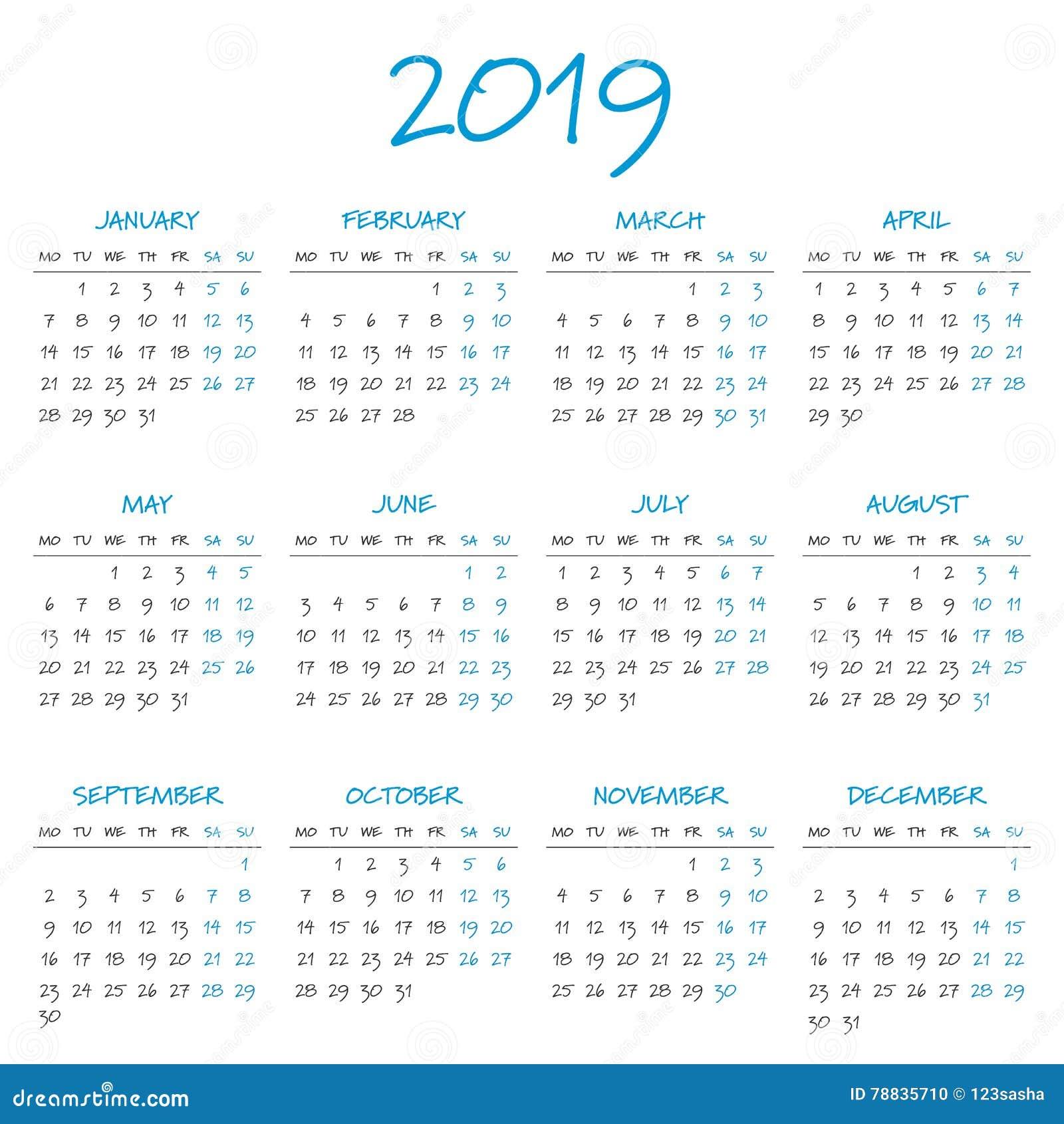 kalendarz uk 2019