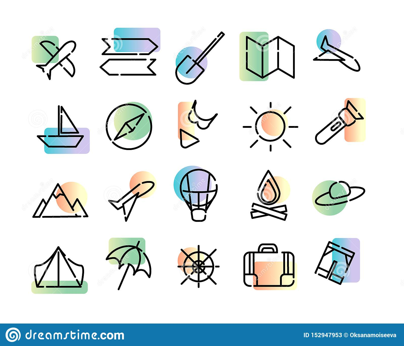 Prosty set ikony podróż Czerń kropkował linie i kolorowego nowożytnego gradient na białym tle Mapa, słońce, samolot,