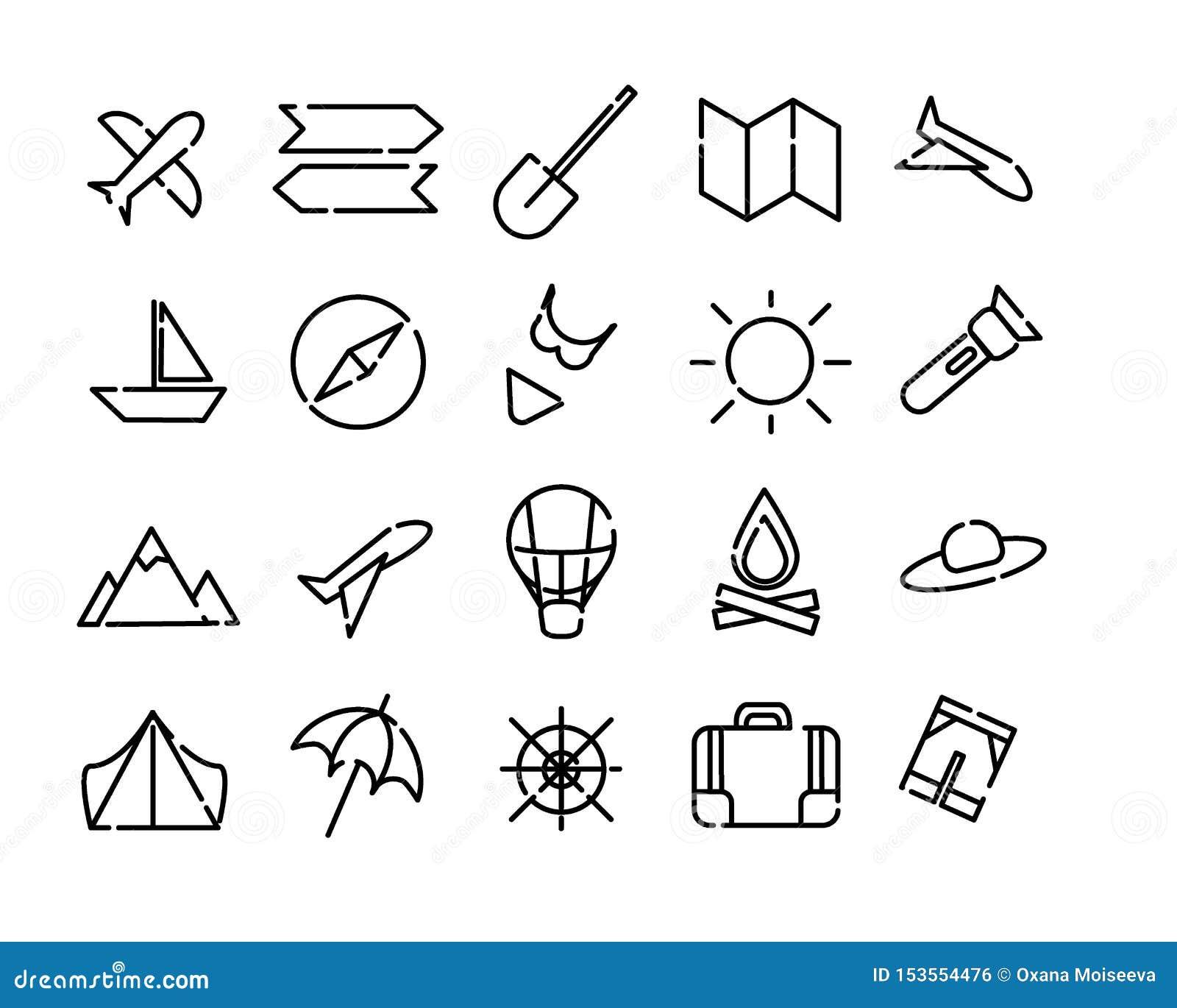 Prosty set ikony podróż Czerń kropkujący wykłada na białym tle Mapa, słońce, samolot, plaża, compas i więcej,