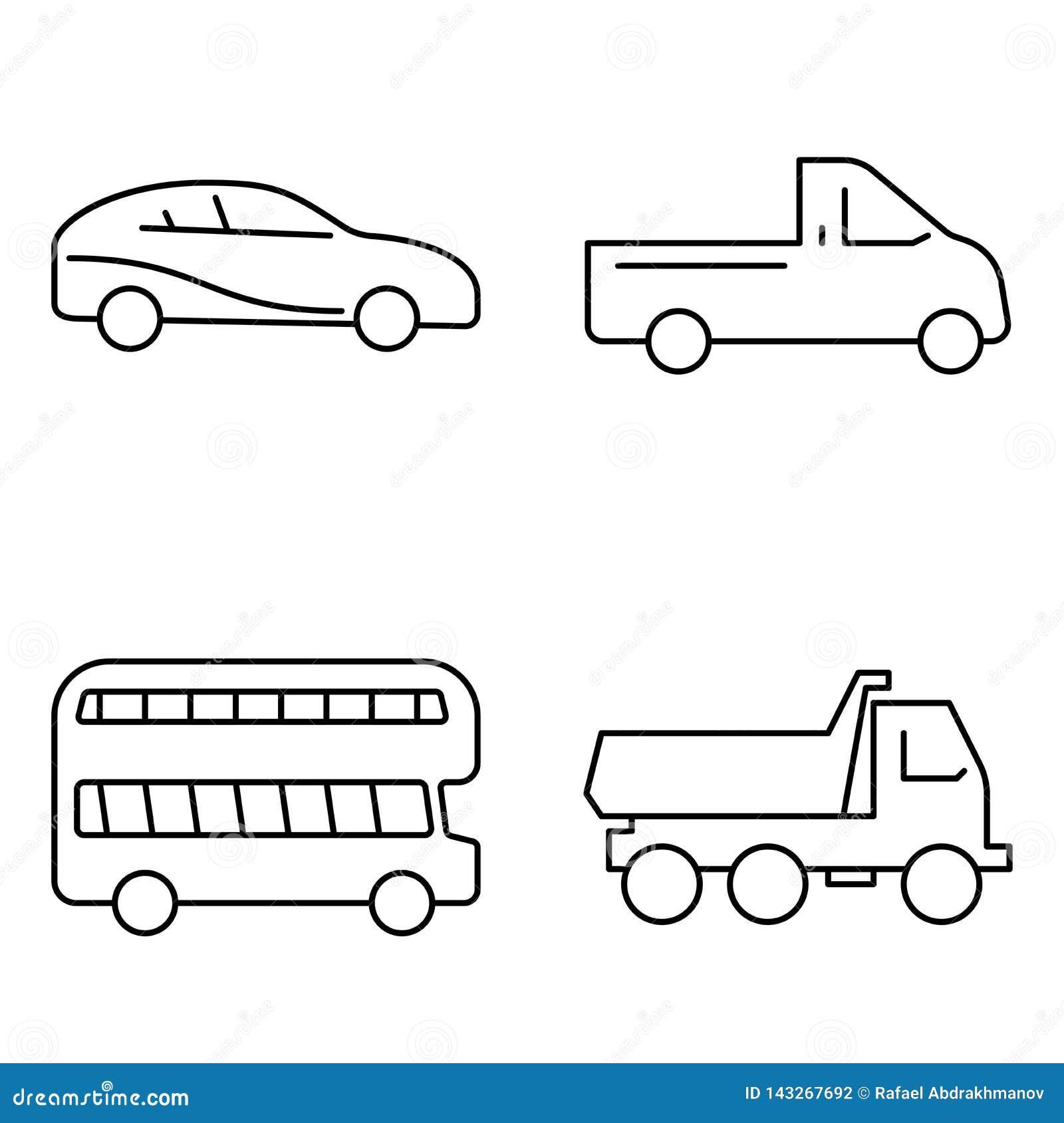 Prosty set transportu publicznego wektoru cienkie kreskowe ikony Samochodowy samochód ciężarówki autobusu dżip