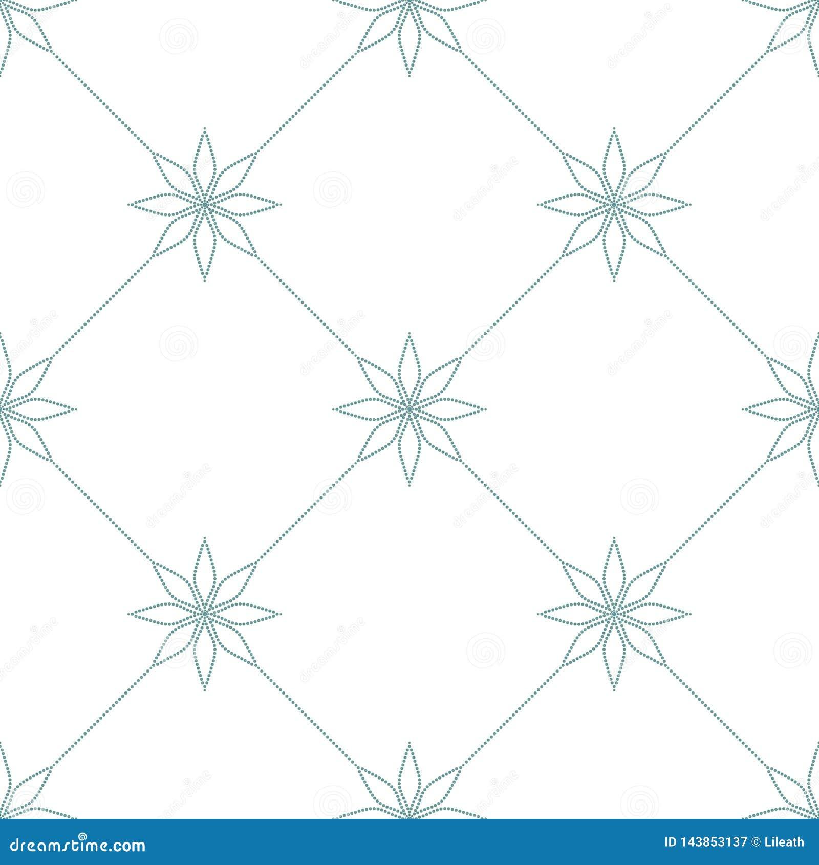 Prosty w kratkę ornament z kwiecistymi elementami Błękit kropkujący wzór na białym tle bezszwowa konsystencja