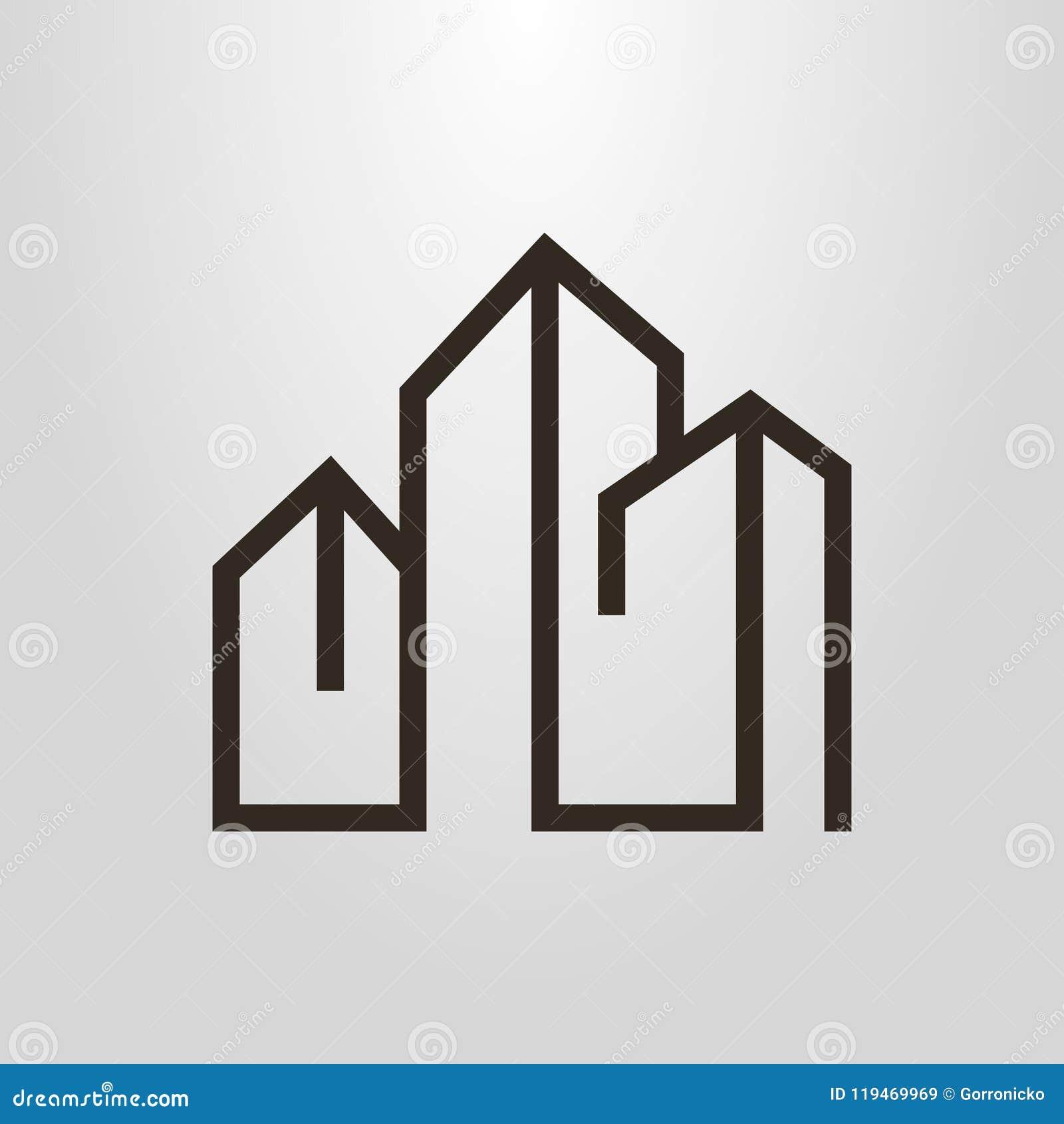 Prosty wektorowy kreskowej sztuki geometryczny piktogram trzy wieżowa