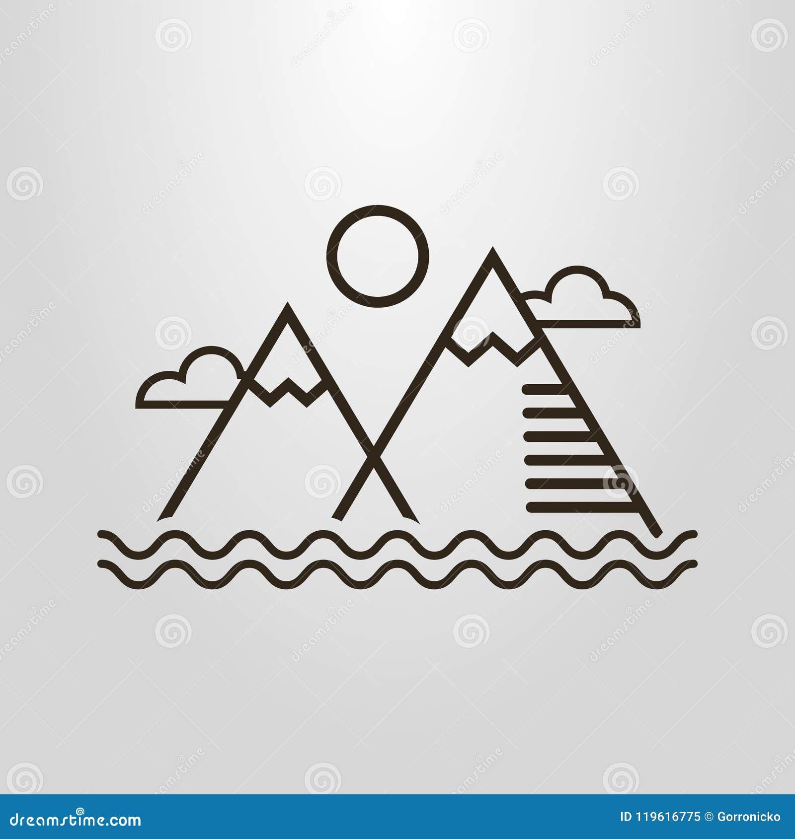 Prosty wektorowy kreskowej sztuki piktogram prosty krajobraz z górami, wodnymi fala, chmurami i słońcem,