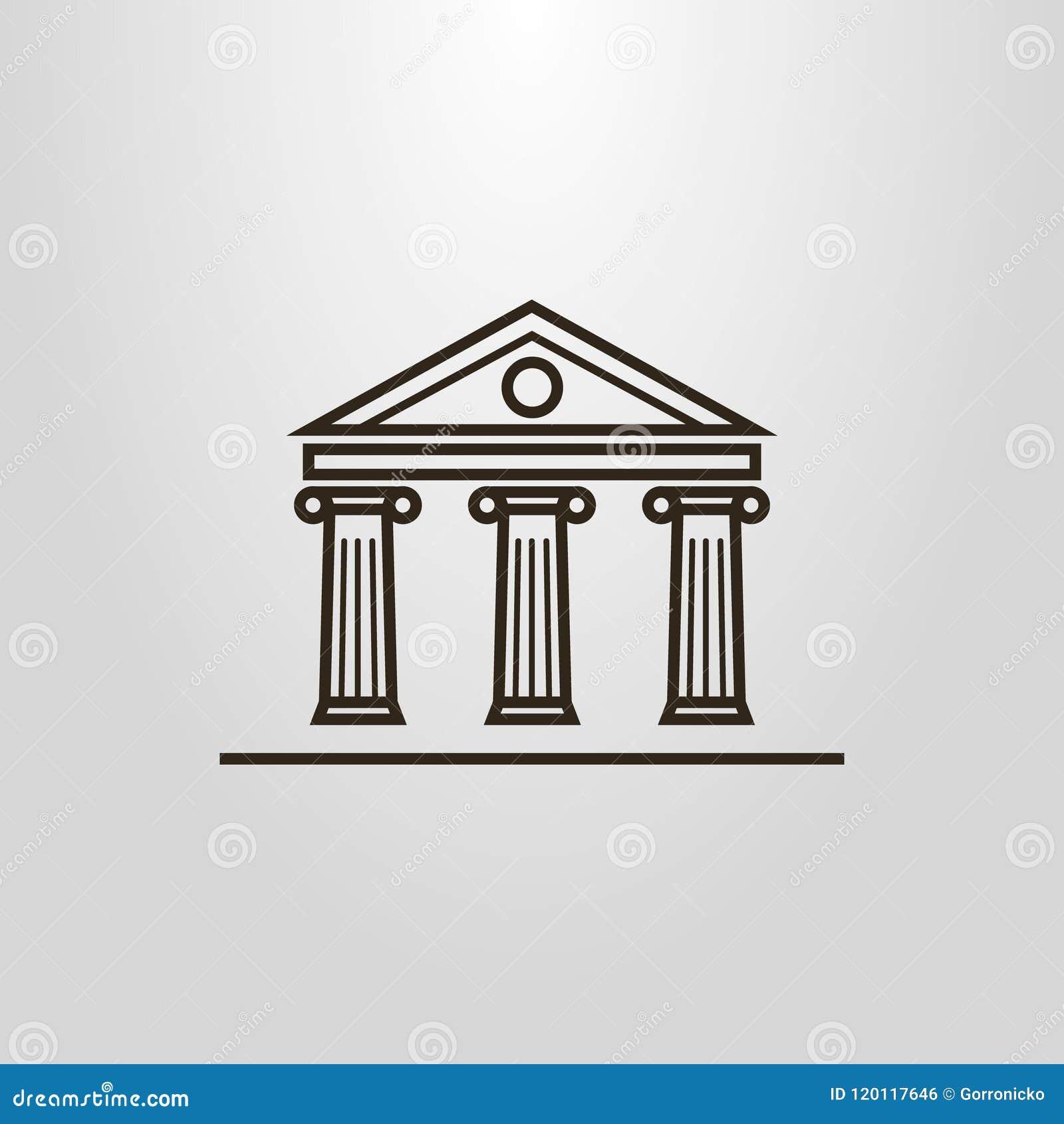 Prostych kreskowej sztuki wektorowych kolumn budynku antykwarski piktogram
