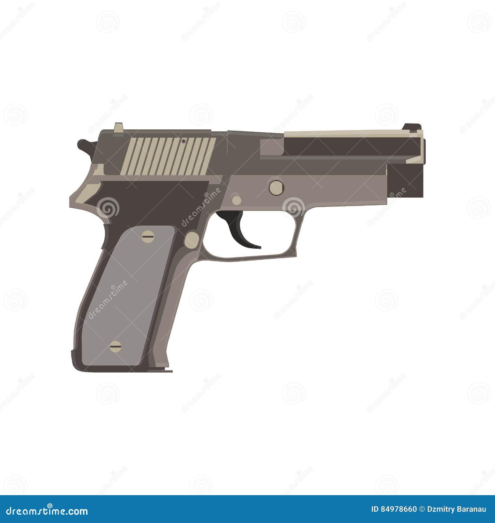 A proteção da bala e da munição da segurança do fogo do vetor da arma da pistola metal desenhos animados Braço e arma criminosos