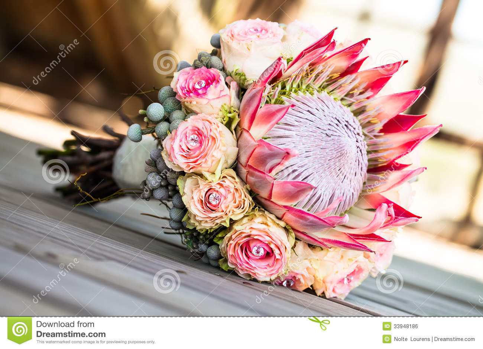 Protea Bouquet Stock Photo Image Of Diamante Roses 33948186